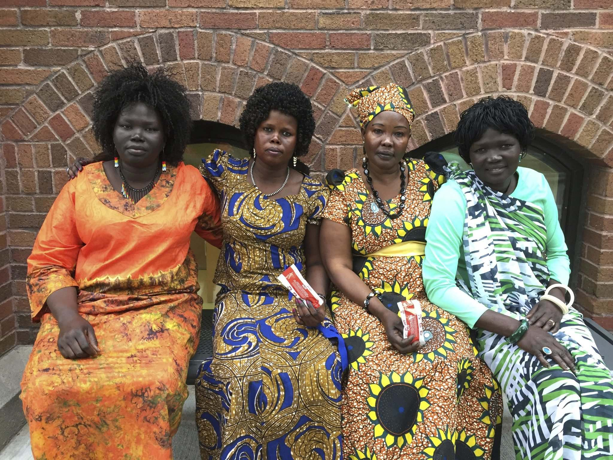 <p>Mary Choul (from left), Rebecca Deng, Mary Nyuon and Martha Dut are urging Canadians to donate to end famine in South Sudan. The federal government is matching donations until Friday. </p>