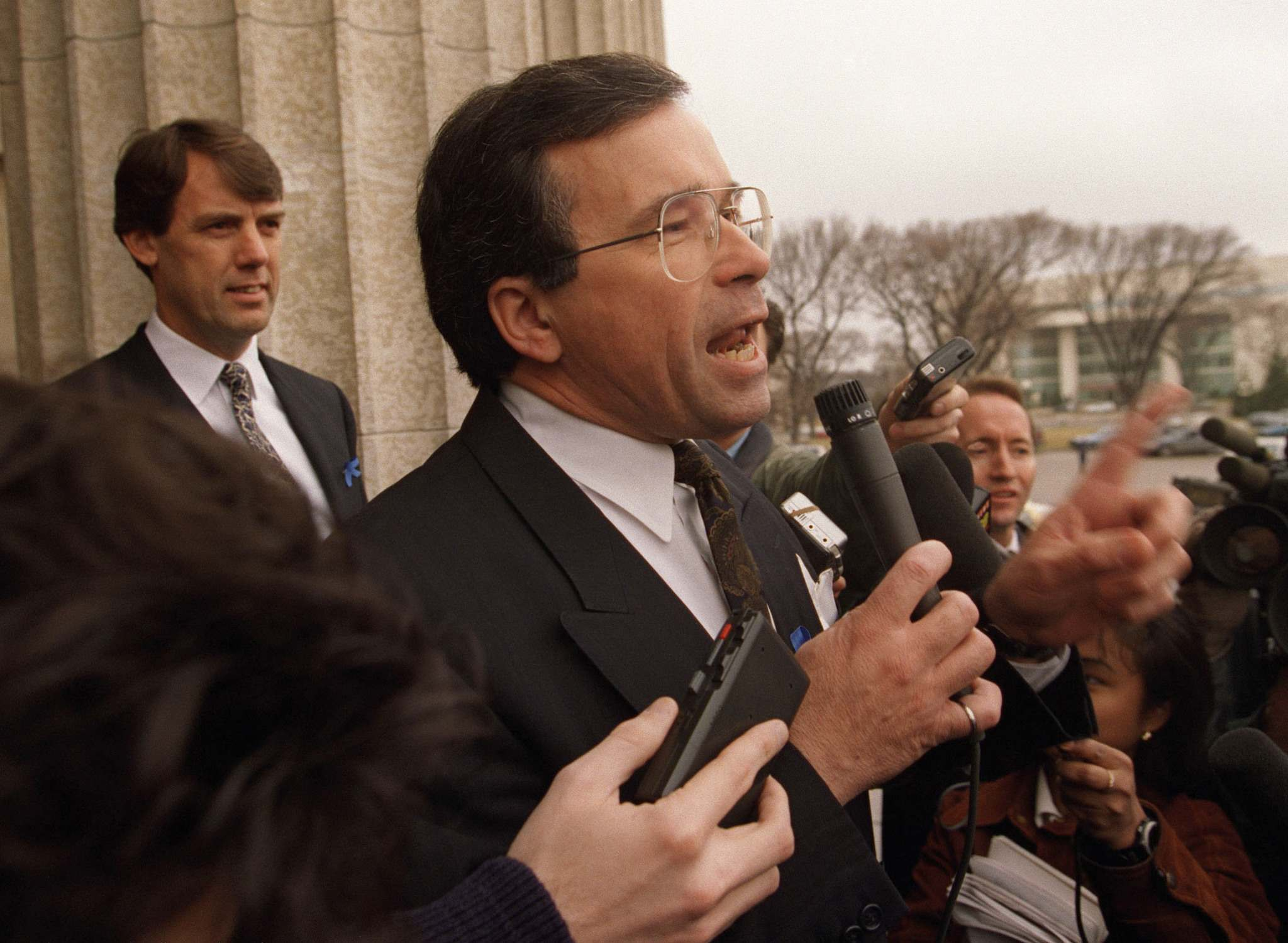 KEN GIGLIOTTI / WINNIPEG FREE PRESS FILES</p><p>In 1995, then-premier Gary Filmon addresses Save the Jets demonstrators who hoped to prevent the NHL team from leaving Winnipeg.</p>