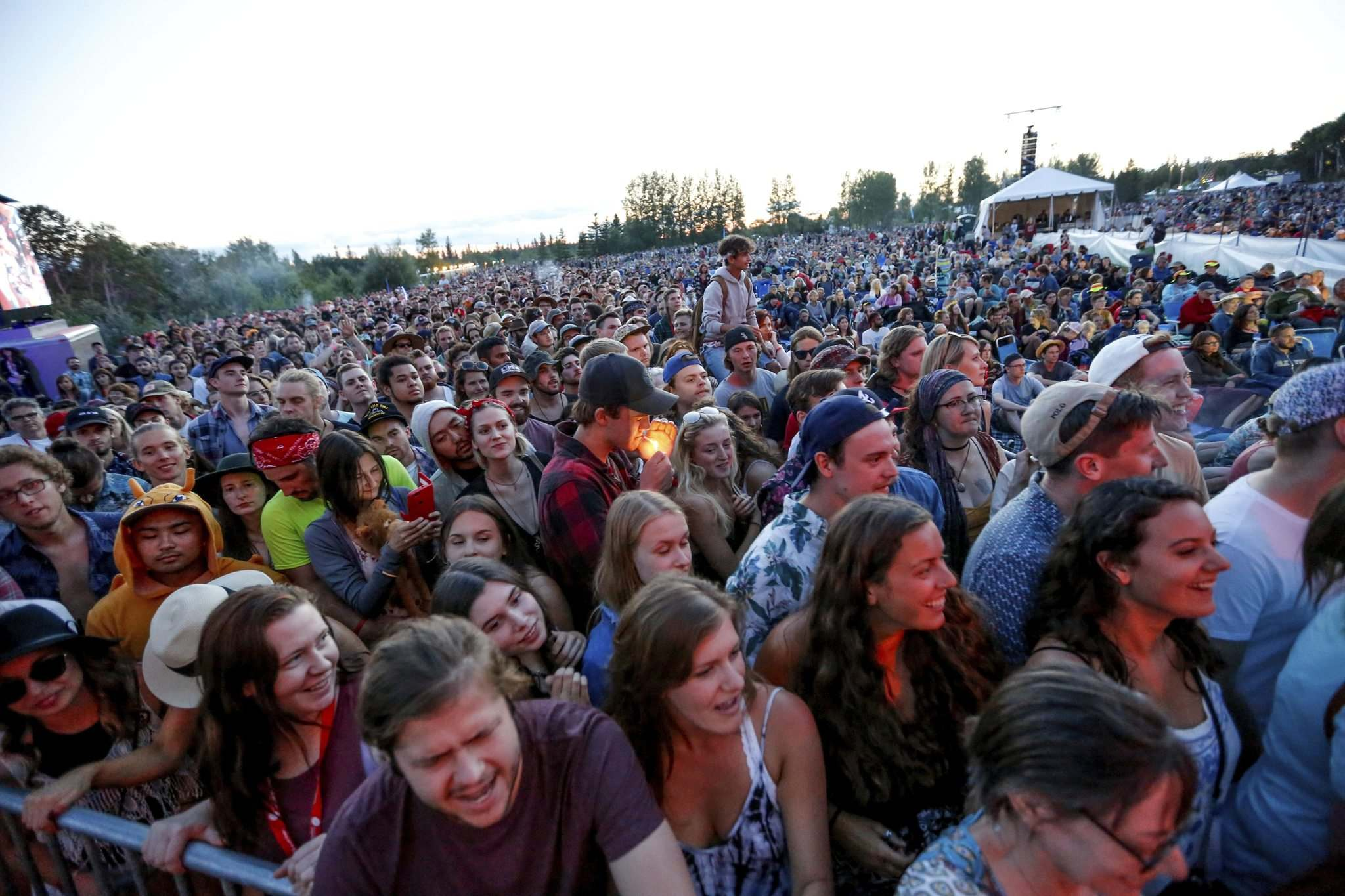 Crowds take in the music at the Folk Festival Main Stage Thursday.