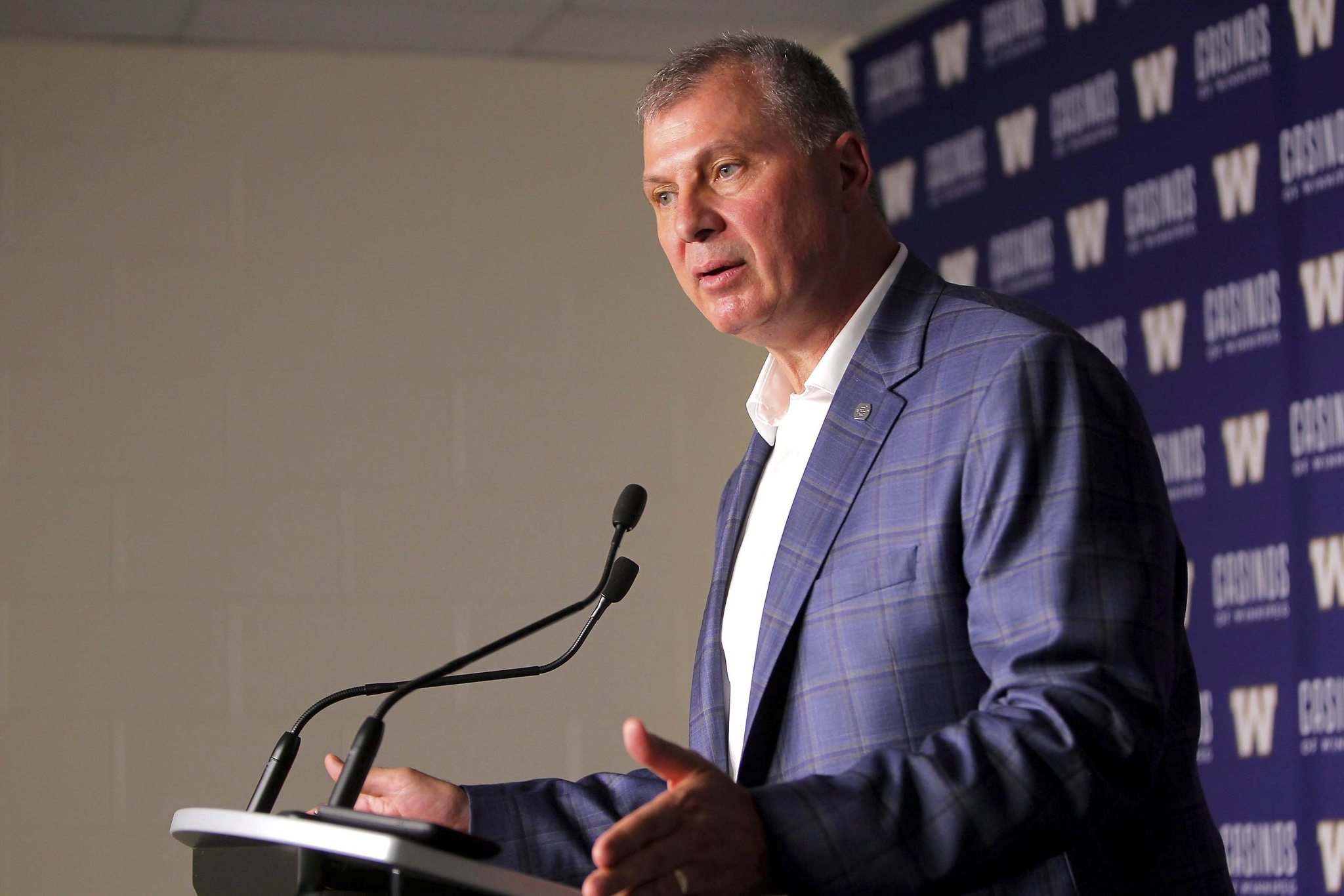 BORIS MINKEVICH / WINNIPEG FREE PRESS</p><p>New CFL commissioner Randy Ambrosie speaks to media prior to Thursday's game at Investors Group Field. The commish touched on a variety of topics from concussions to expansion.</p>