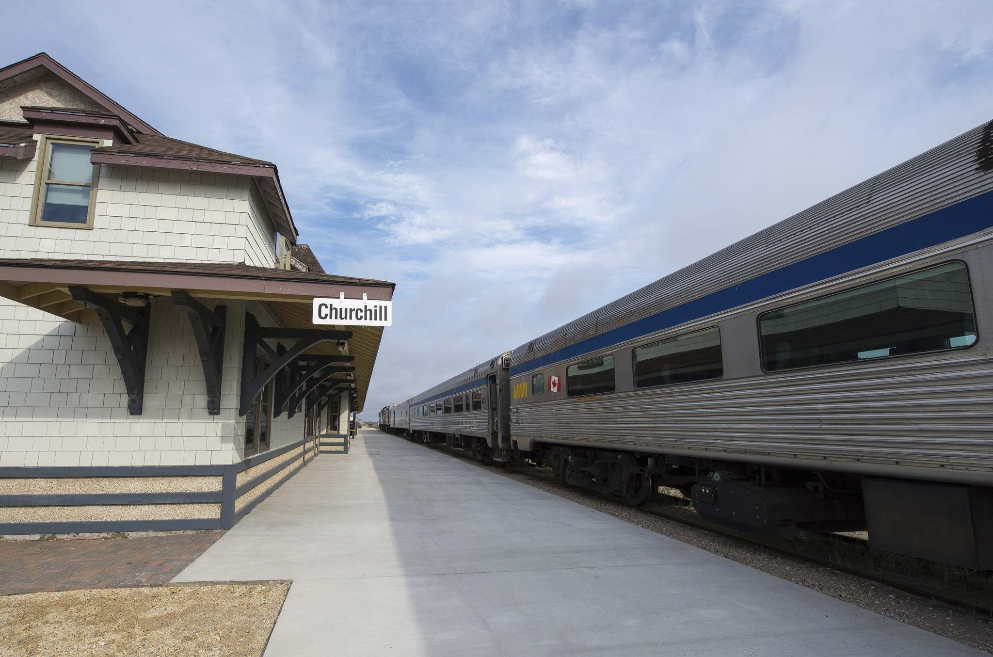 A VIA Rail train sits idle at the train station in Churchill, Man., on Thursday, June 22, 2017. THE CANADIAN PRESS/Alex de Vries</p>