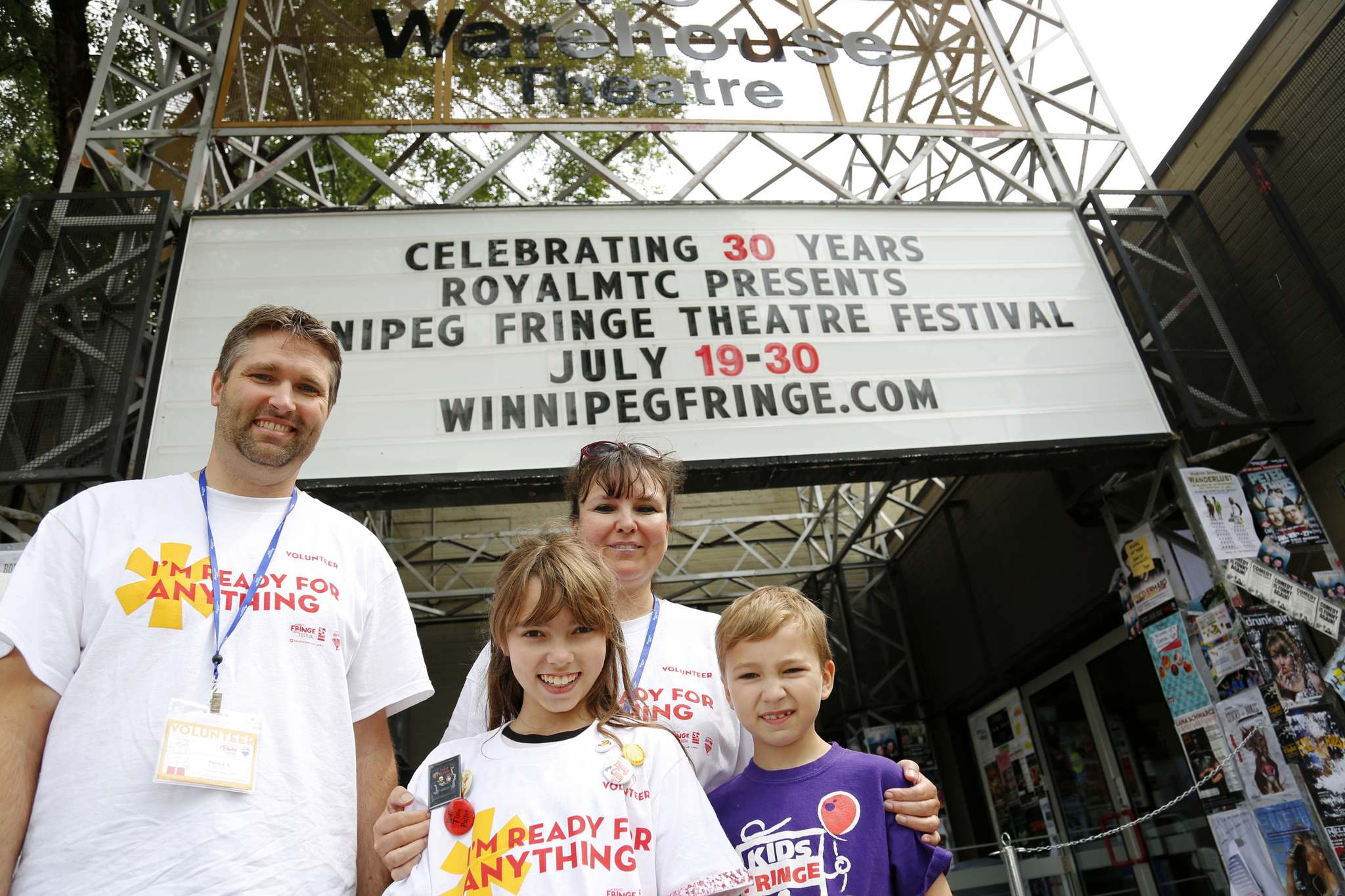 JUSTIN SAMANSKI-LANGILLE / WINNIPEG FREE PRESS</p><p>Patrick and Kathleen Armstrong have been volunteering at the Winnipeg Fringe Theatre Festival since 2006. The Armstrong's children, Sadie and Beckett, join their parents on their shifts.</p>
