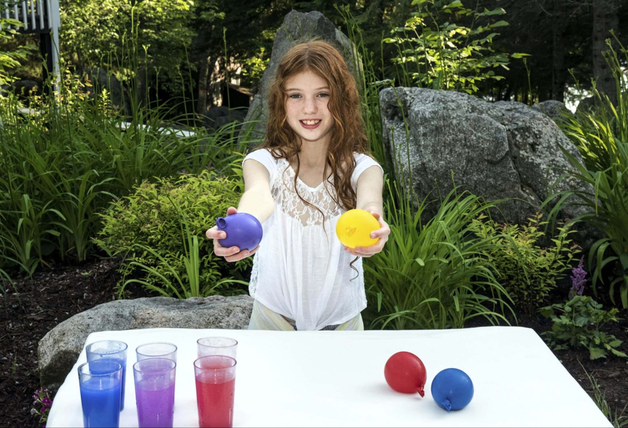 SUPPLIED</p><p>Carlie Weinreb, 9, holds up homemade stress balls she sells along with lemonade.</p>