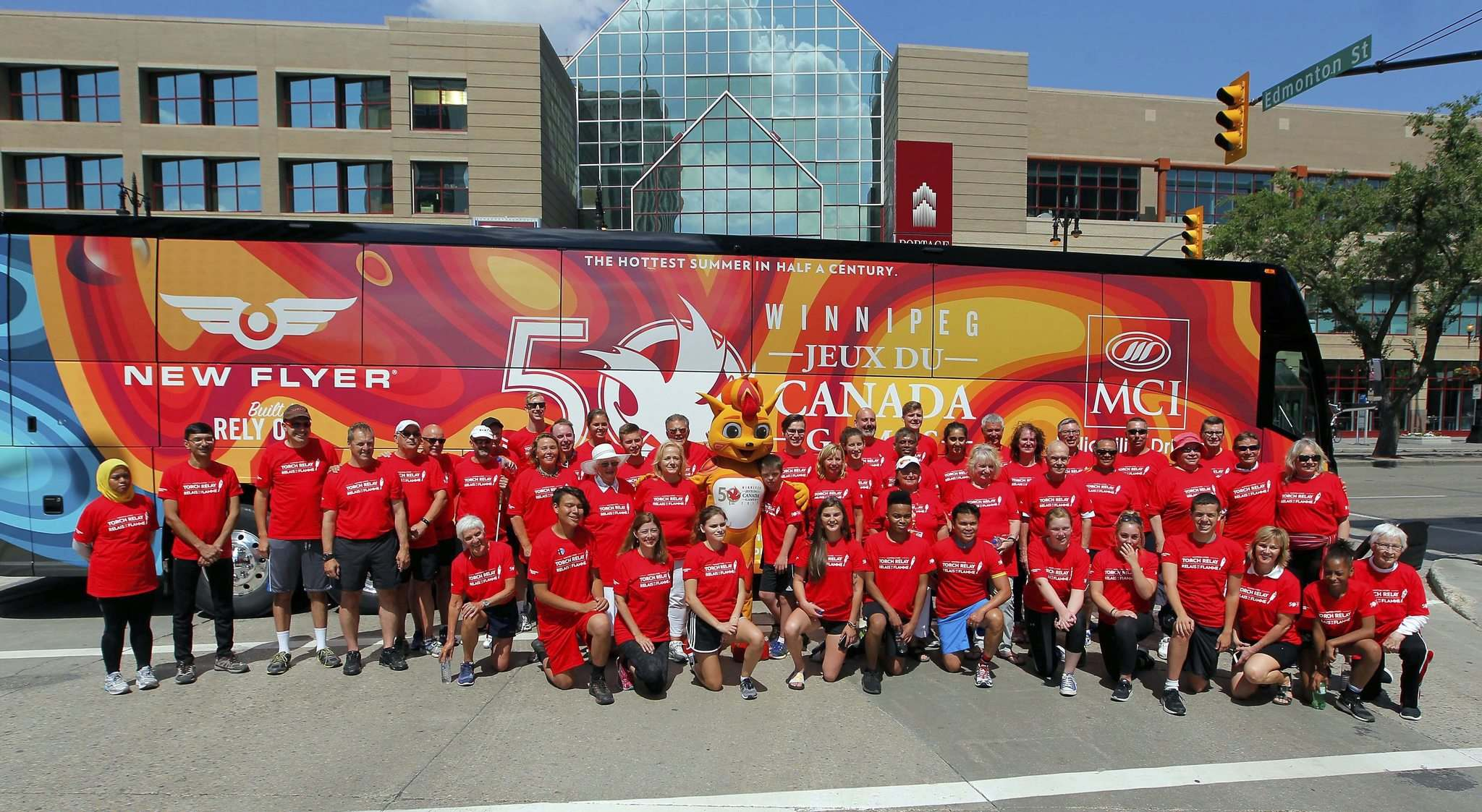 A team picture of the torchbearers after the event. (Boris Minkevich / Winnipeg Free Press)</p>