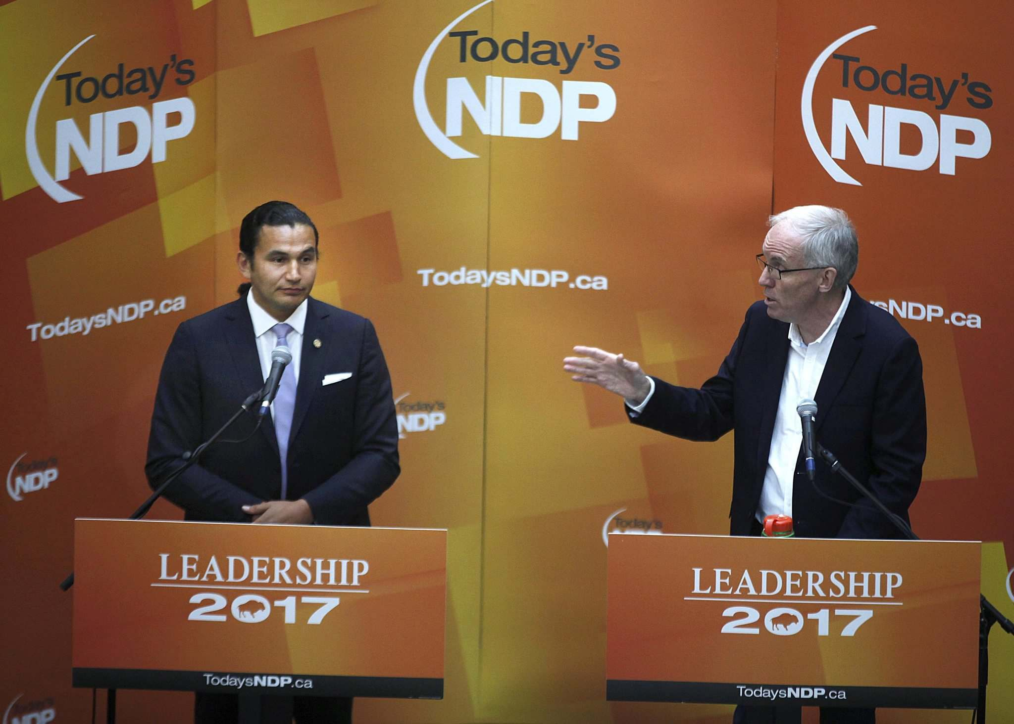 "PHIL HOSSACK / WINNIPEG FREE PRESS FILES</p><p>Wab Kinew, left and Steve Ashton at a 2017 NDP Leadership forum. Asthon said about two stayed domestic abuse charges against Kinew: ""We don't know the full story. People deserve to know.""</p>"