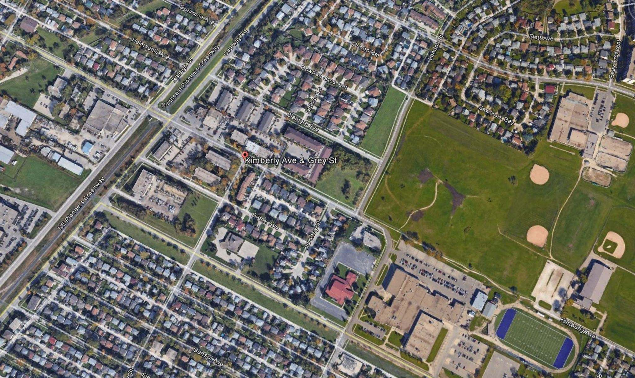 Thelma Krull was seen with the suspect near Kimberly Avenue and Grey Street and appeared to be in distress. Police believe the man would have had access to a residence in the area -- he may have been living there or staying temporarily in the area. (Google Earth)</p>