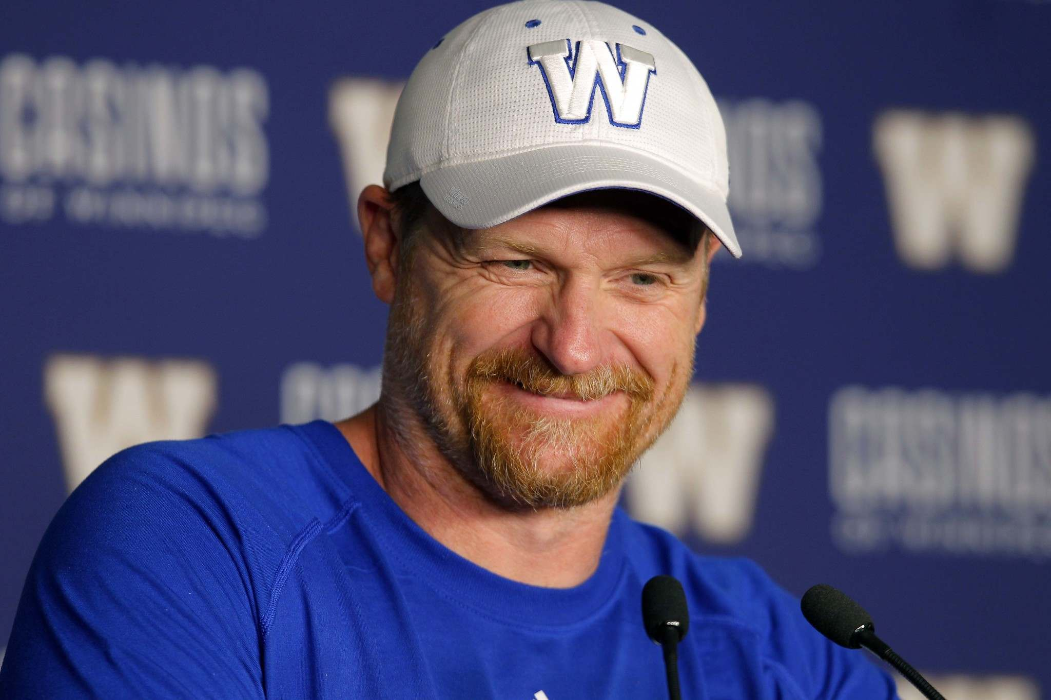 BORIS MINKEVICH / WINNIPEG FREE PRESS</p><p>Winnipeg Blue Bombers head coach Mike O&#39;Shea does like to smile.</p>