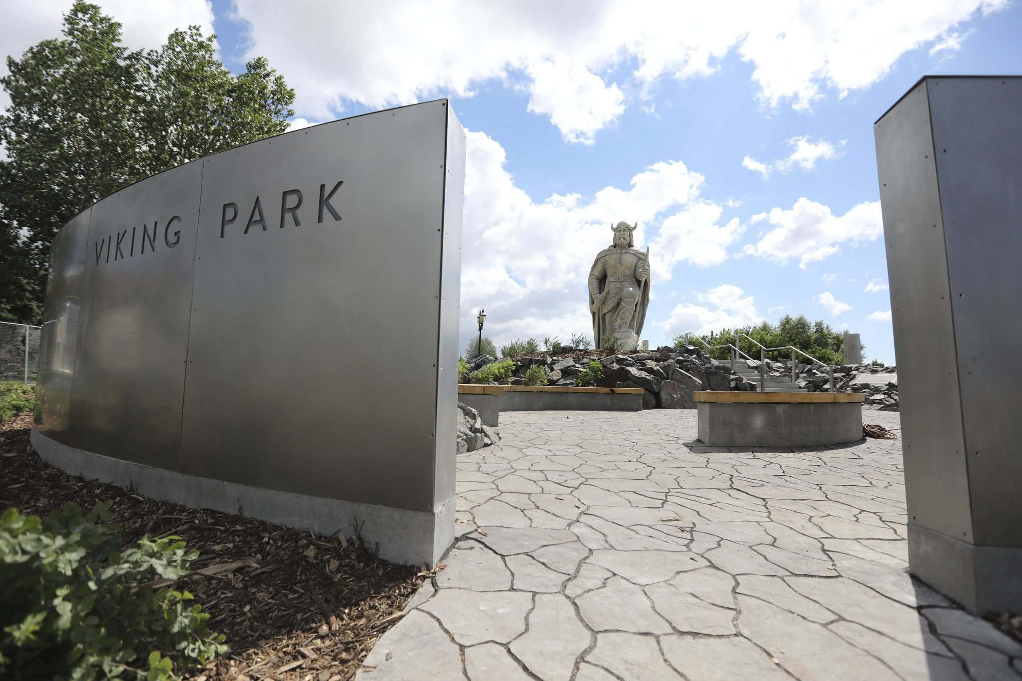 RUTH BONNEVILLE / WINNIPEG FREE PRESS</p><p>Gimli opens new space to house their giant statue of a Viking called Viking Park just prior to the Gimli Icelandic Festival this weekend.</p>