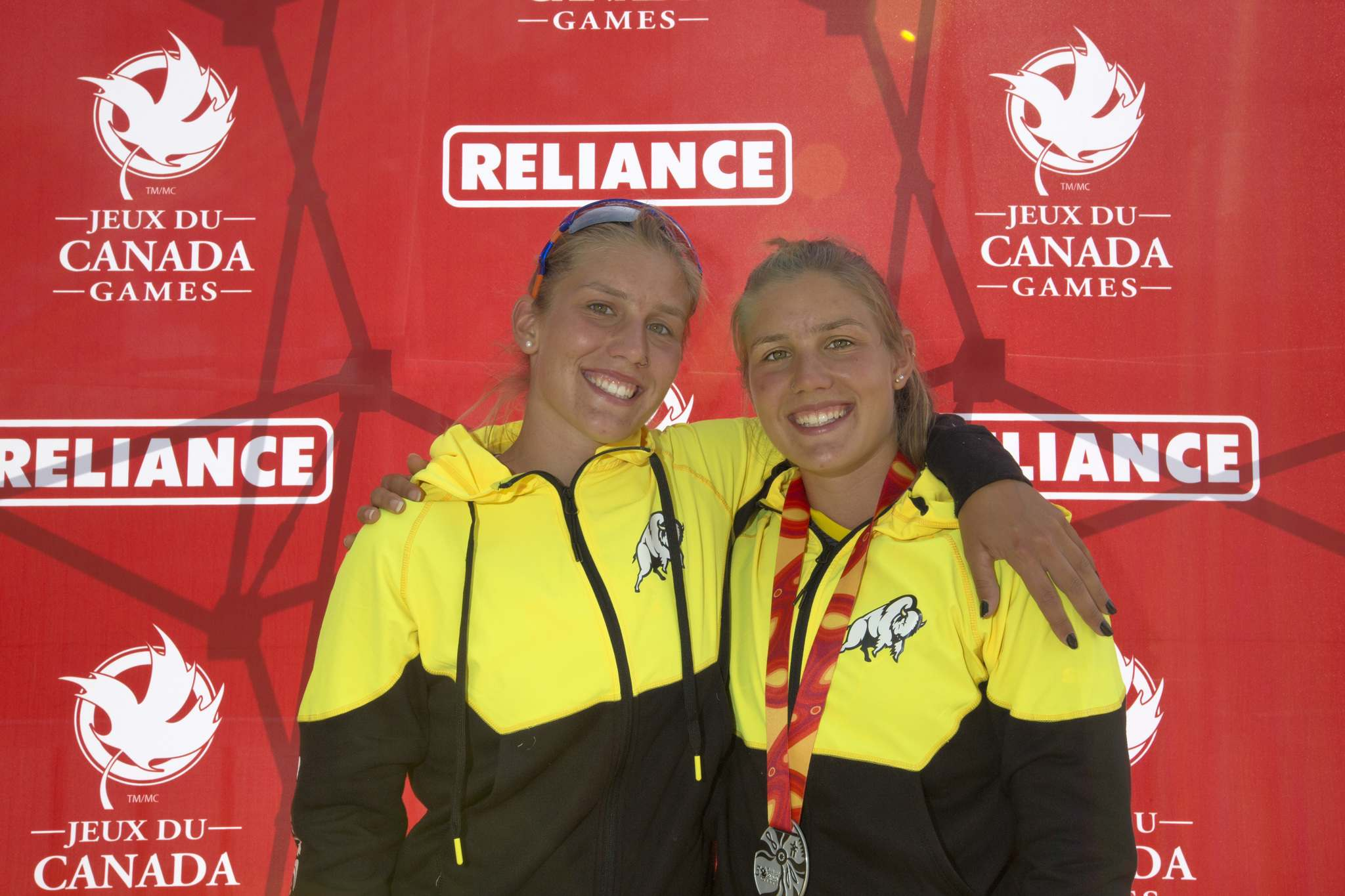 JUSTIN SAMANSKI-LANGILLE / WINNIPEG FREE PRESS</p><p>Team Manitoba twins Emma Mitchell (left) and Maddy Mitchell pose Monday after completing their races at the Manitoba Canoe and Kayak Centre. </p>