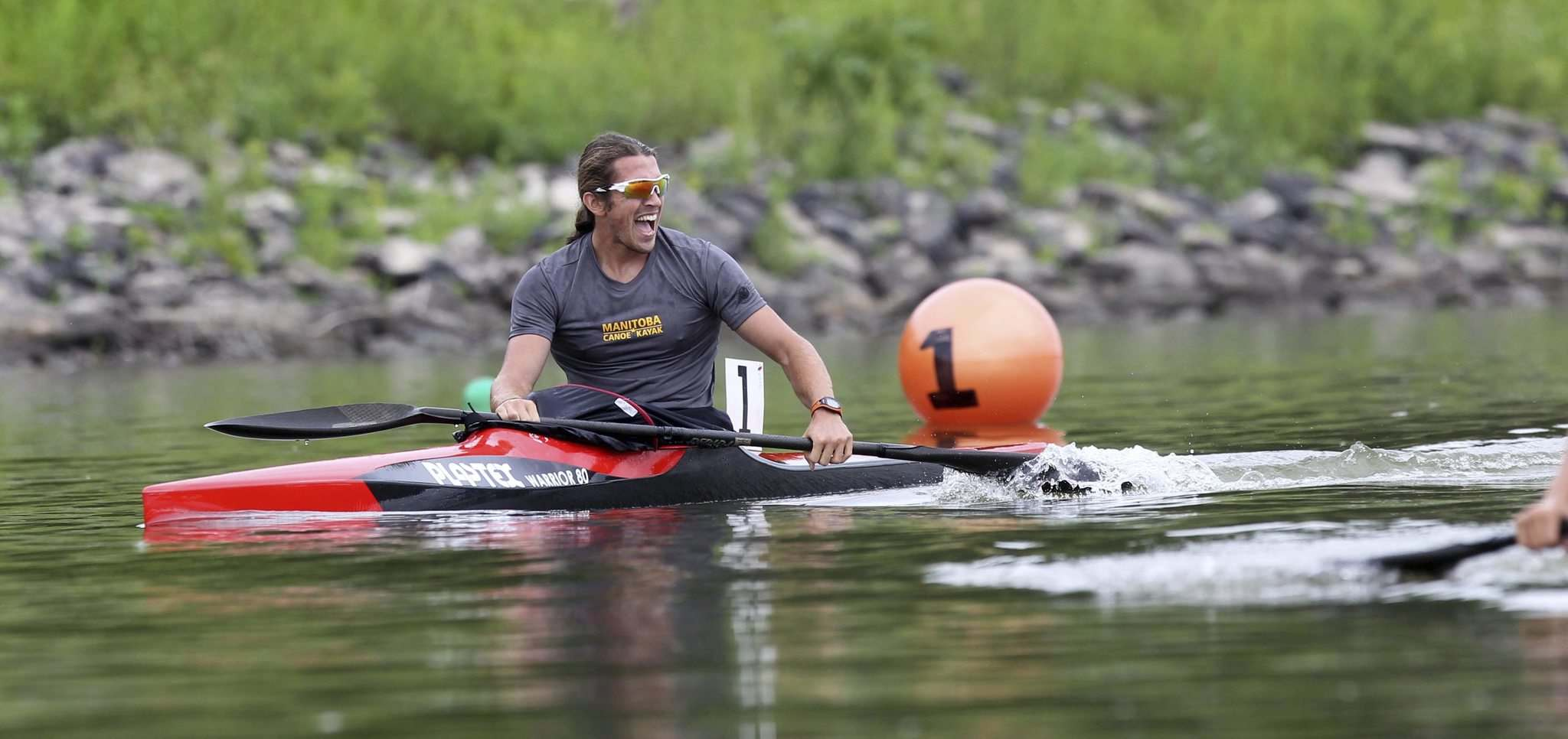 RUTH BONNEVILLE / WINNIPEG FREE PRESS</p><p>Team Manitoba's James Lavalee relaxes after placing fifth in the K1-1,000-metre kayak final at the Manitoba Canoe and Kayak Centre Tuesday.</p></p>