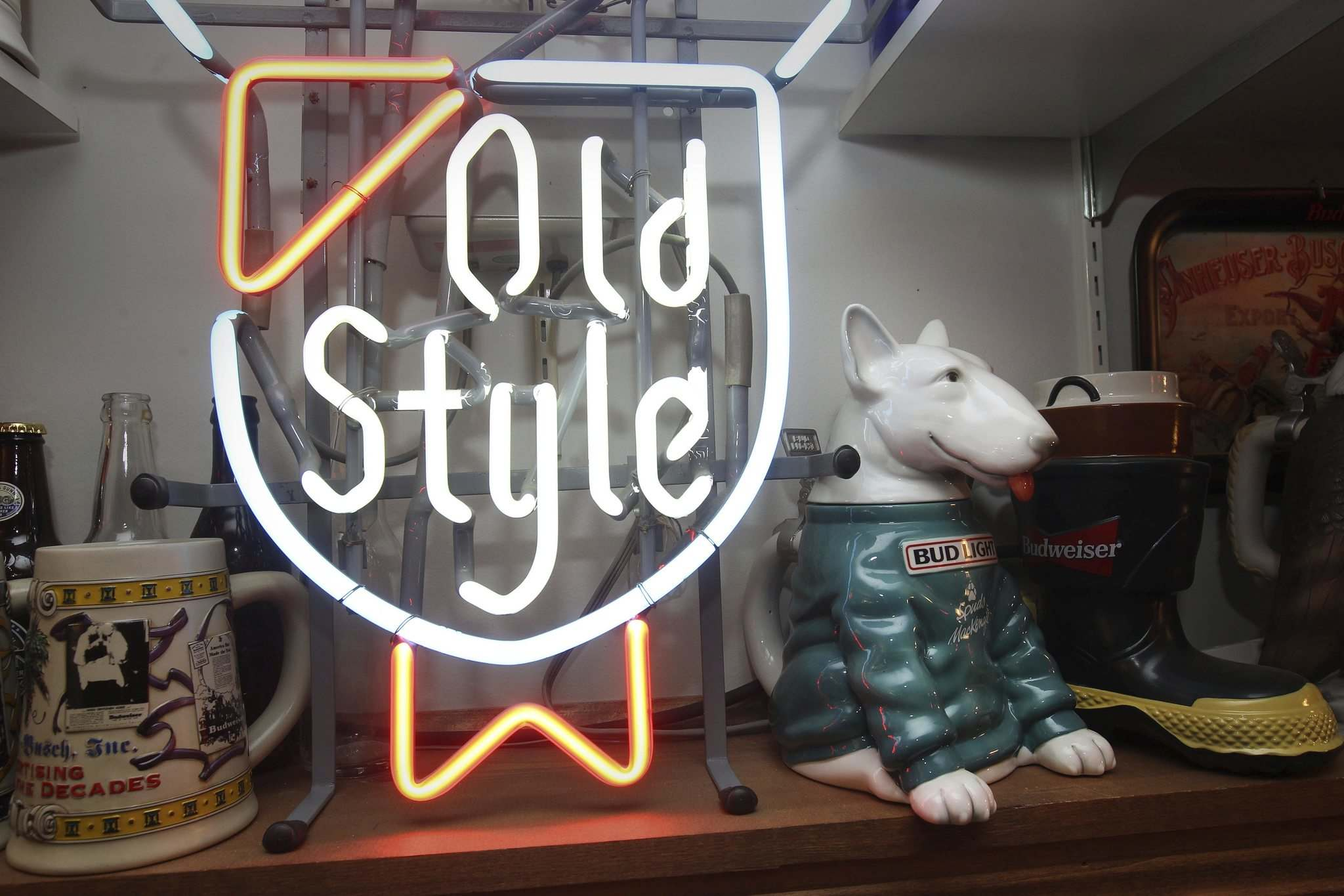 Budweiser Spuds Mackenzie and Old Style neon sign.