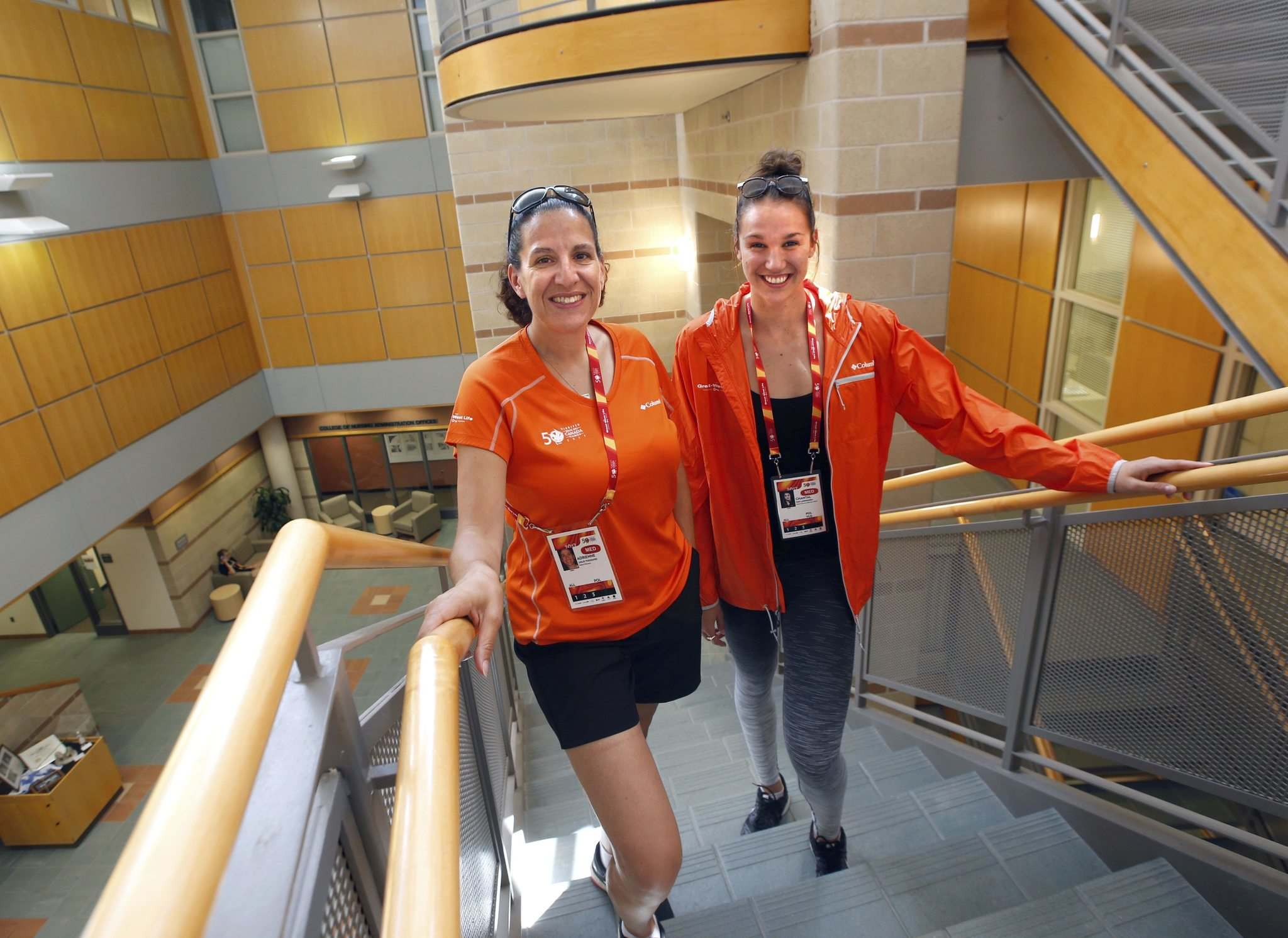 WAYNE GLOWACKI / WINNIPEG FREE PRESS</p><p>At left, Dr. Adrienne Leslie-Toogood (the Canadian Sport Centre Manitoba&#39;s lead psychologist) and Olympic swimmer and Manitoban Chantal Van Landeghem in the Helen Glass Centre for Nursing on the U of M campus that is part of the Canada Summer Games Athletes Village.</p>
