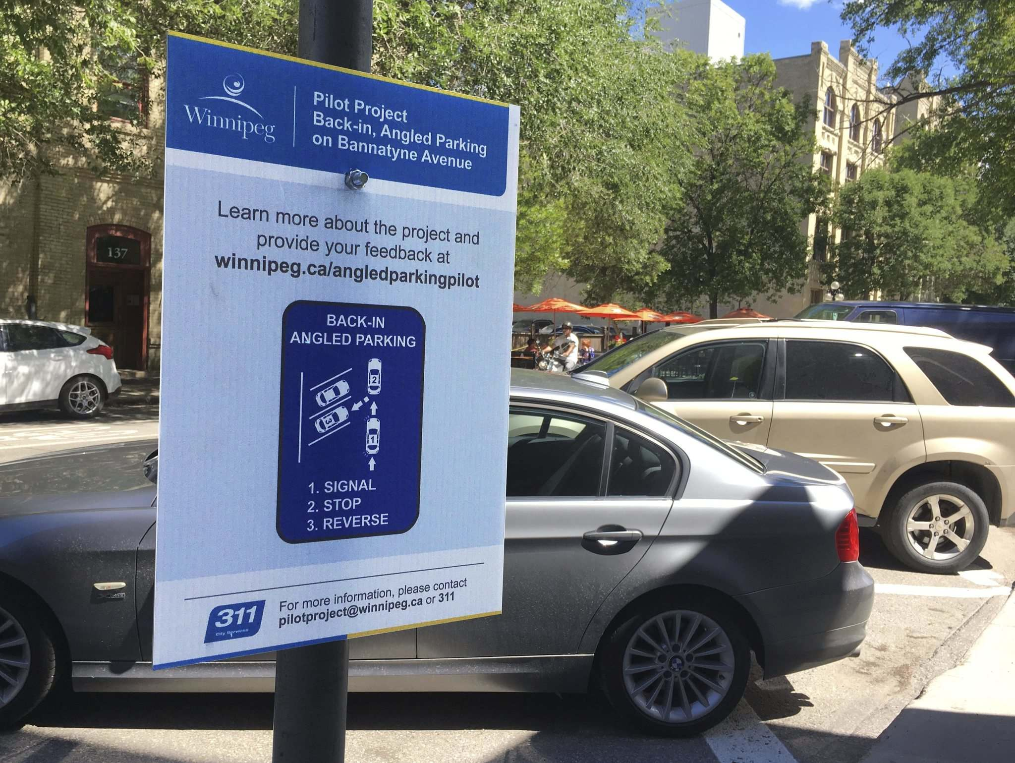 Diagonal parking instructions eased drivers into the pilot project. (Supplied)</p>