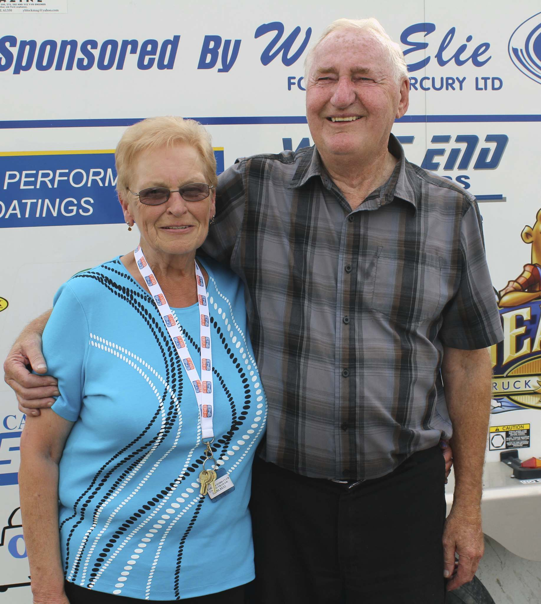 Betty (left), club treasurer, and Albert Lannoo, president of the Fabulous 50's Ford Club.