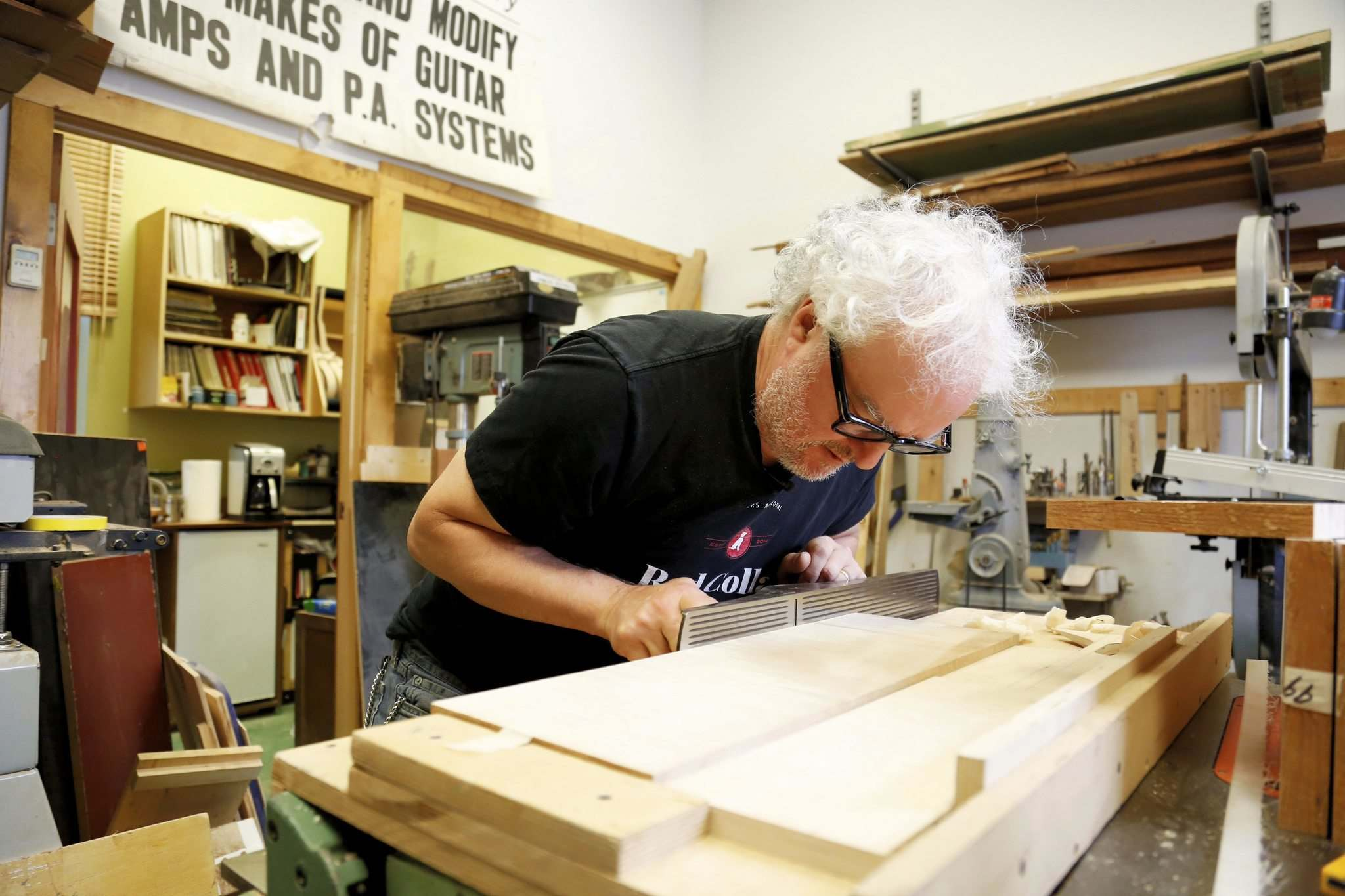Beardsell works on a piece of maple which will eventually become part of a fully custom-made guitar. (Justin Samanski-Langille / Winnipeg Free Press)</p>