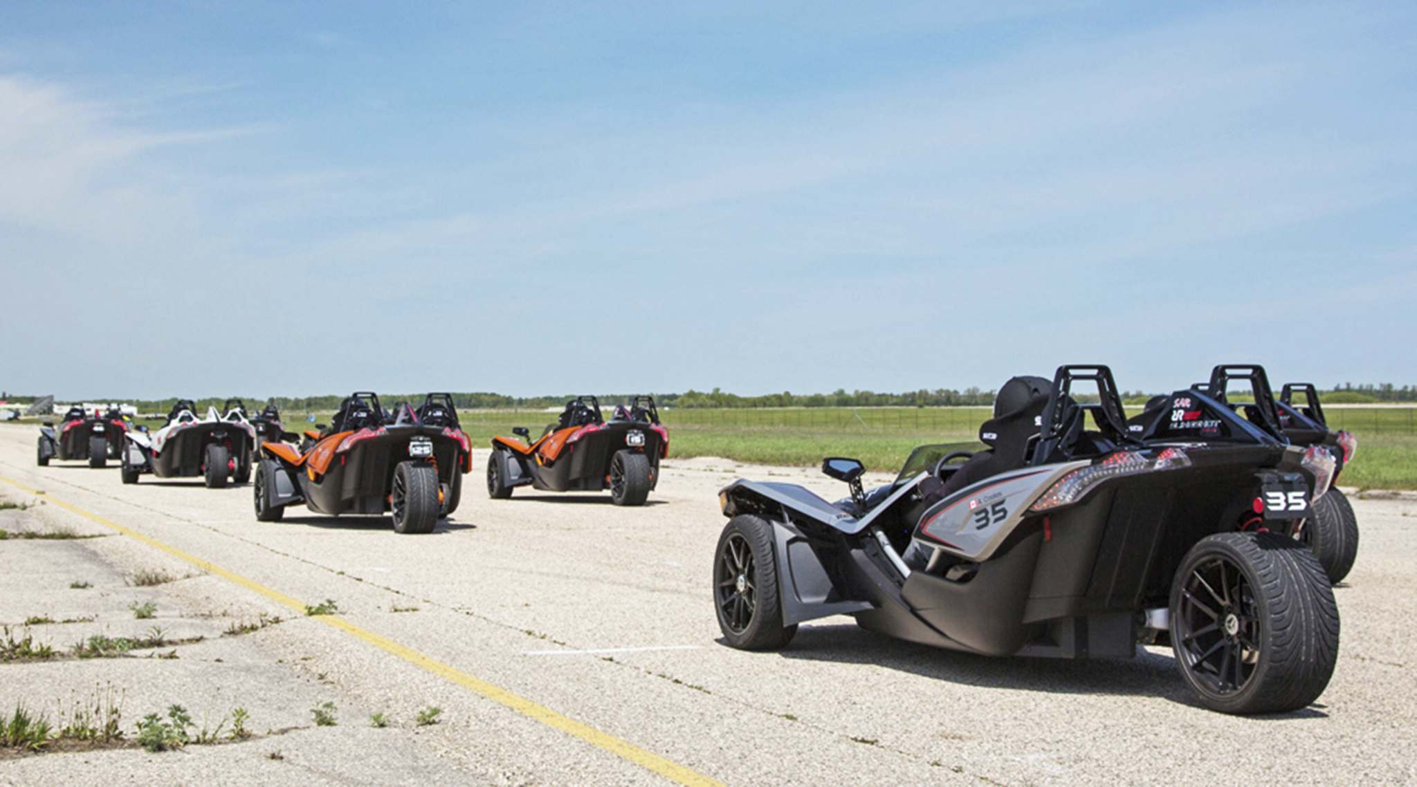 SuppliedThe Polaris Slingshot is a three-wheeled vehicle with a 2.4-L inline four-cylinder engine. Drivers raced Slingshots against one another this summer in the inaugural Slingshot Racing Cup.