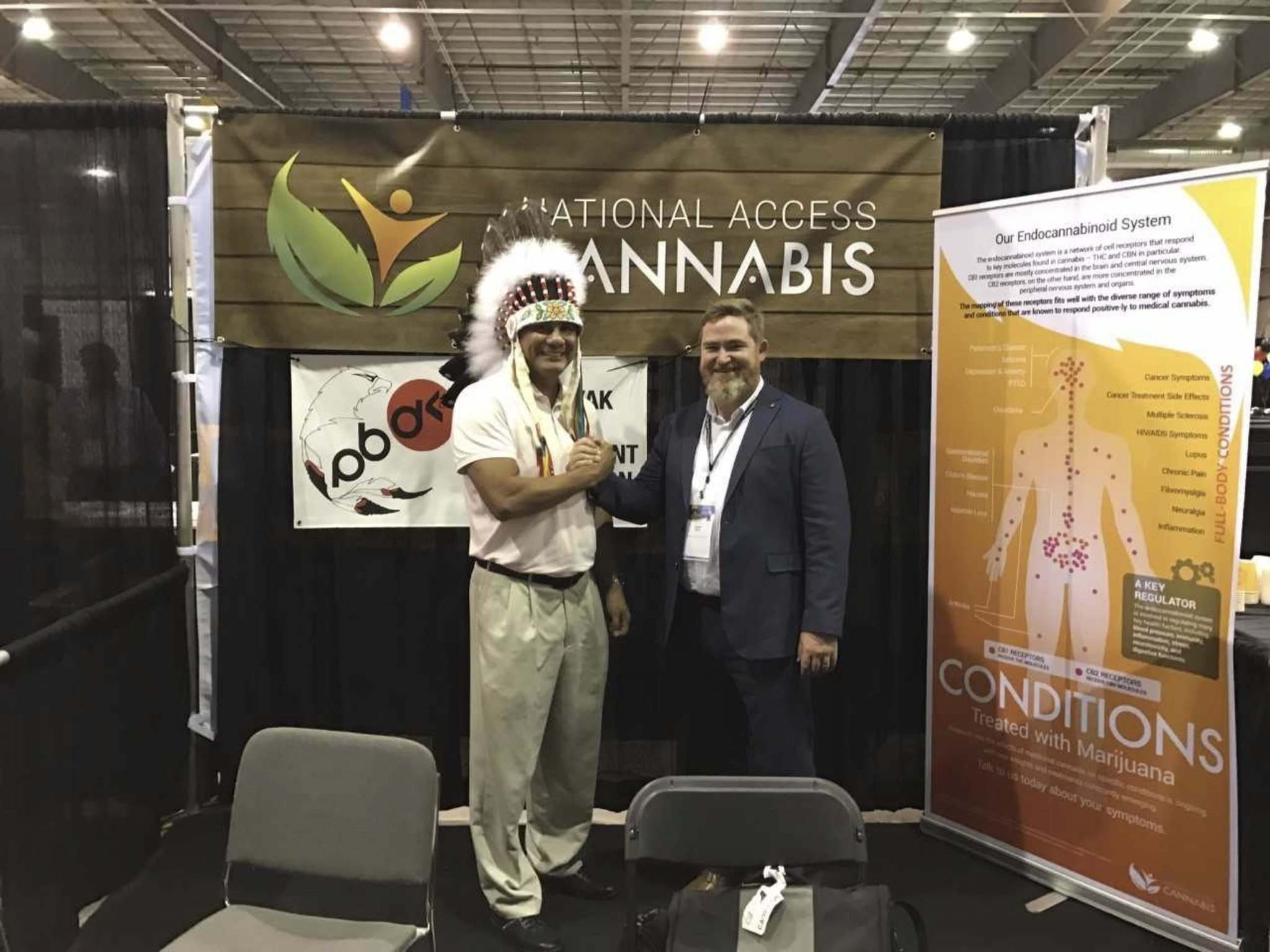 Supplied</p><p>Opaskwayak Cree Nation Chief Christian Sinclair with Chuck Rifici, chairman of National Access Cannabis.</p>