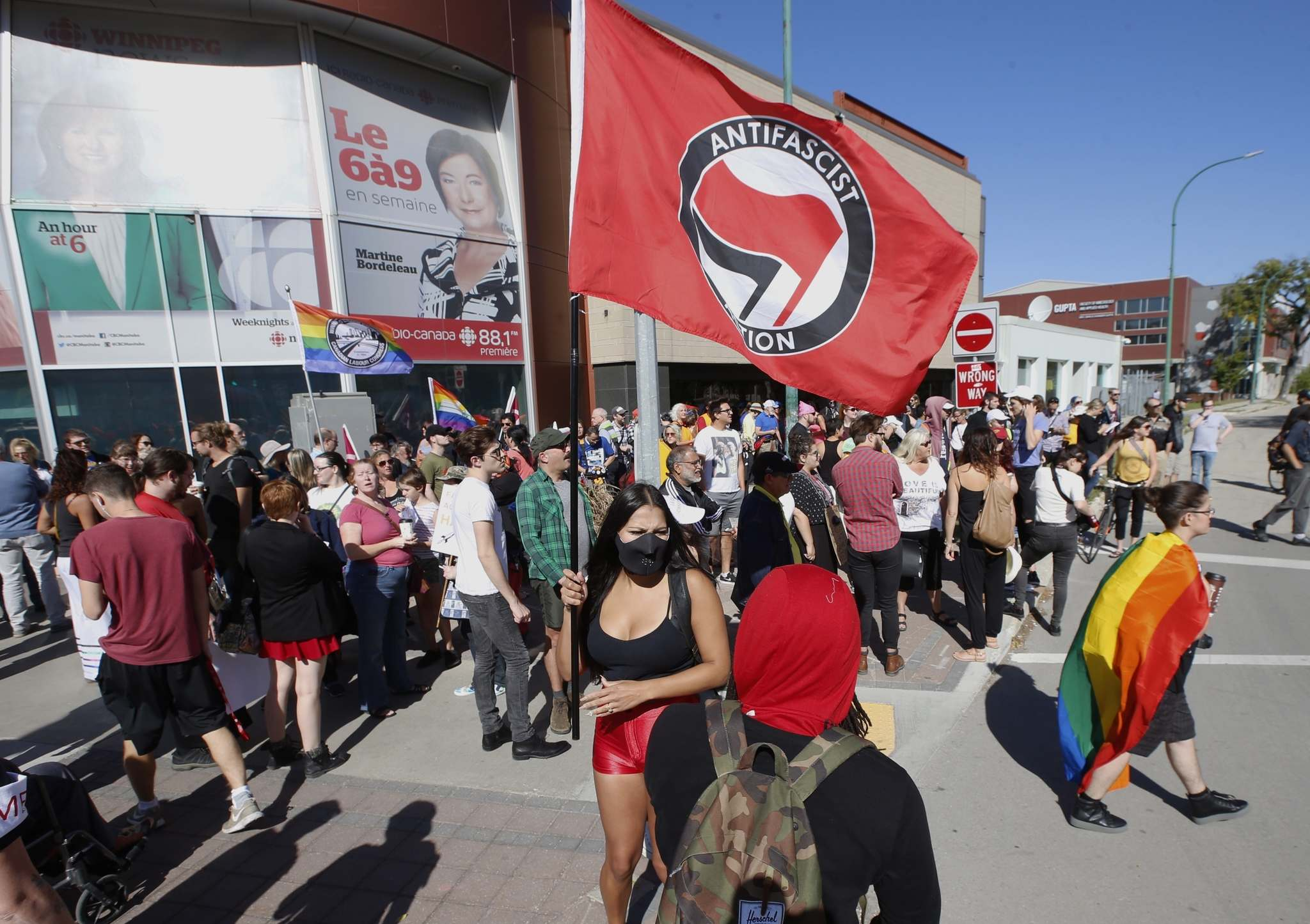 Wayne Glowacki / Winnipeg Free Press</p><p>About 200 anti-fascist demonstrators gather in front of the CBC building on Portage Avenue Saturday morning before marching to the Legislative ground.</p>