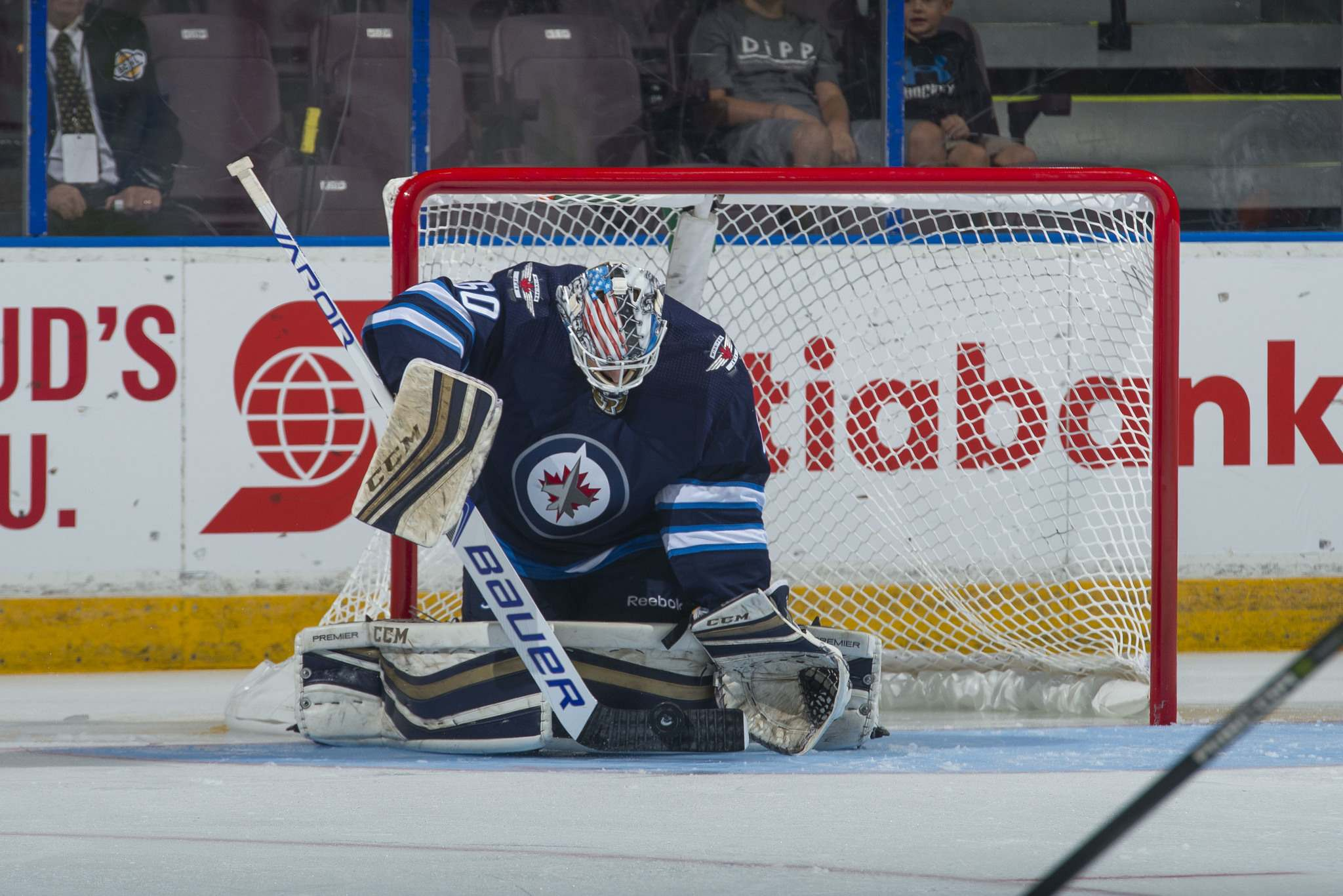 Marissa Baecker/Shoot the Breeze</p><p>Mikhail Berdin #60 of the Winnipeg Jets makes a stick save against the Vancouver Canucks on September 8, 2017 at the South Okanagan Event Centre in Penticton.</p>