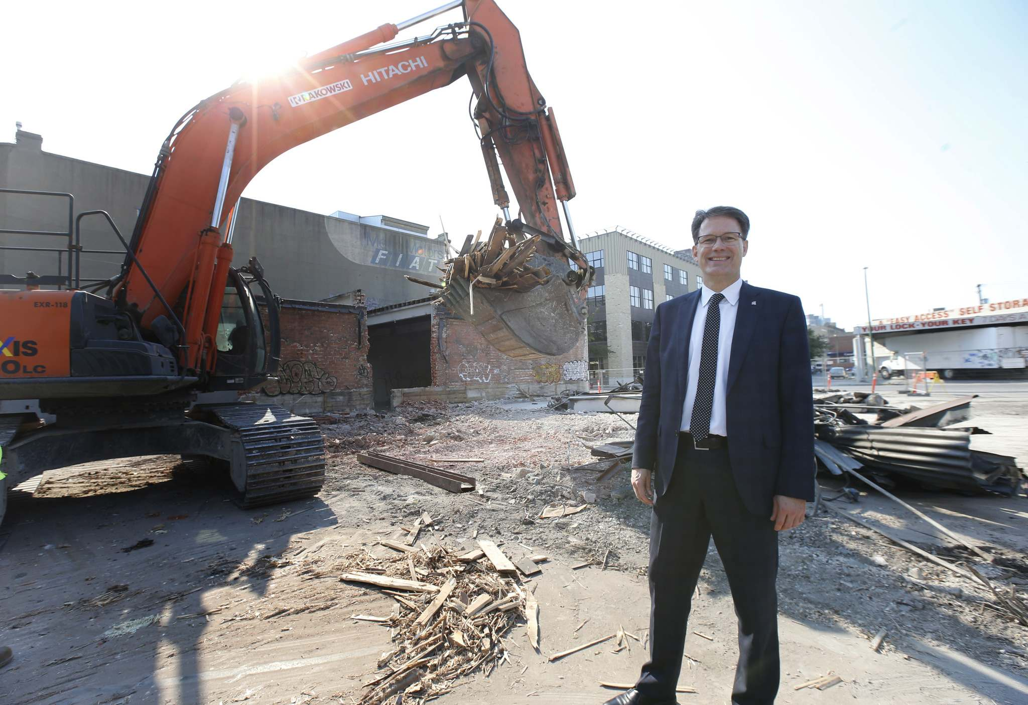 WAYNE GLOWACKI / WINNIPEG FREE PRESS</p><p>Paul Vogt, Red River College president and CEO stands near the former Metro Motors that is being demolished to make way for the college&#39;s Innovation Centre. </p>