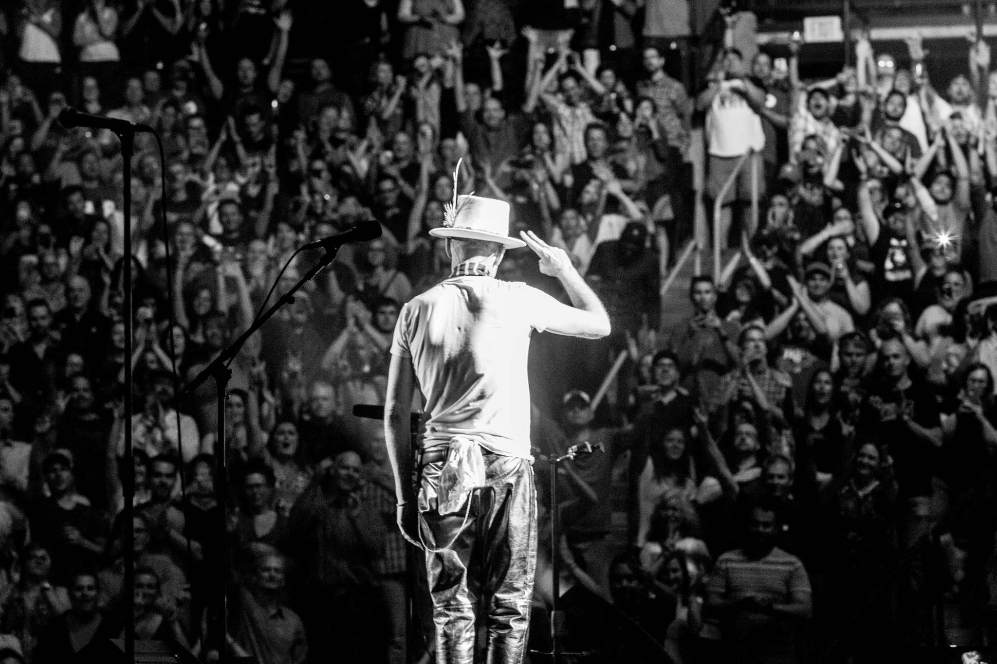 ELEVATION PICTURES</p><p>Gord Downie salutes the crowd during the film Long Time Running.</p>