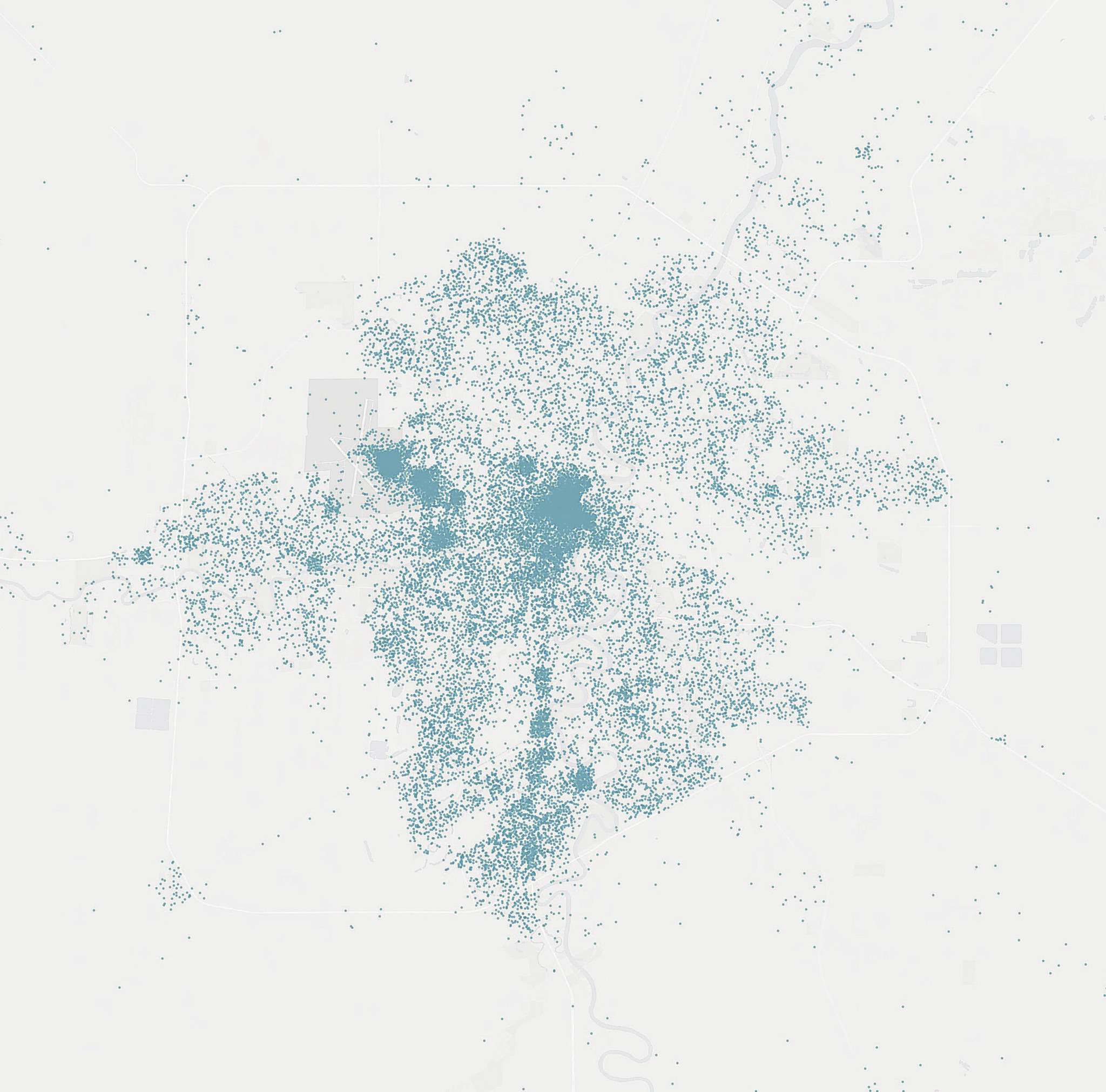 SUPPLIED BY UBER - each dot represents the location of the first time a unique user opened the app in Winnipeg from January to June 2017.</p>