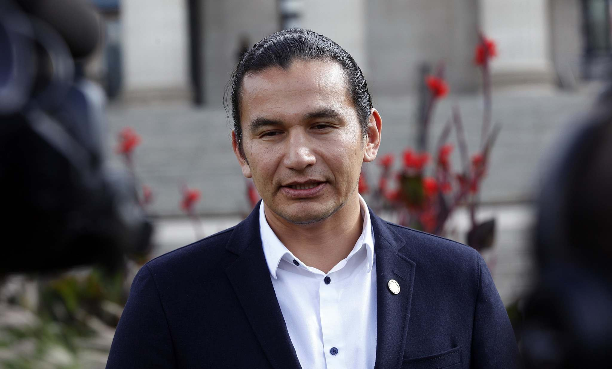 PHIL HOSSACK / WINNIPEG FREE PRESS</p><p>Wab Kinew holds a press conference on the lawn of the Manitoba Legislature Wednesday. Kinew received a criminal pardon for his past crimes after he won the riding of Fort Rouge in the April 19, 2016, provincial election.</p></p>