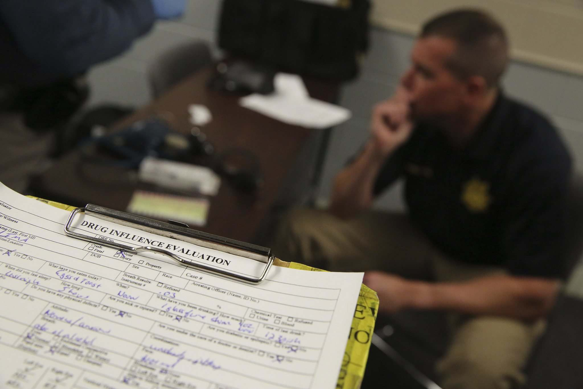 Brennan Linsley / The Associated Press files</p><p>A completed roadside Drug Influence Evaluation sheet at the Colorado State Patrol Training Academy in Golden, Colo. </p></p>