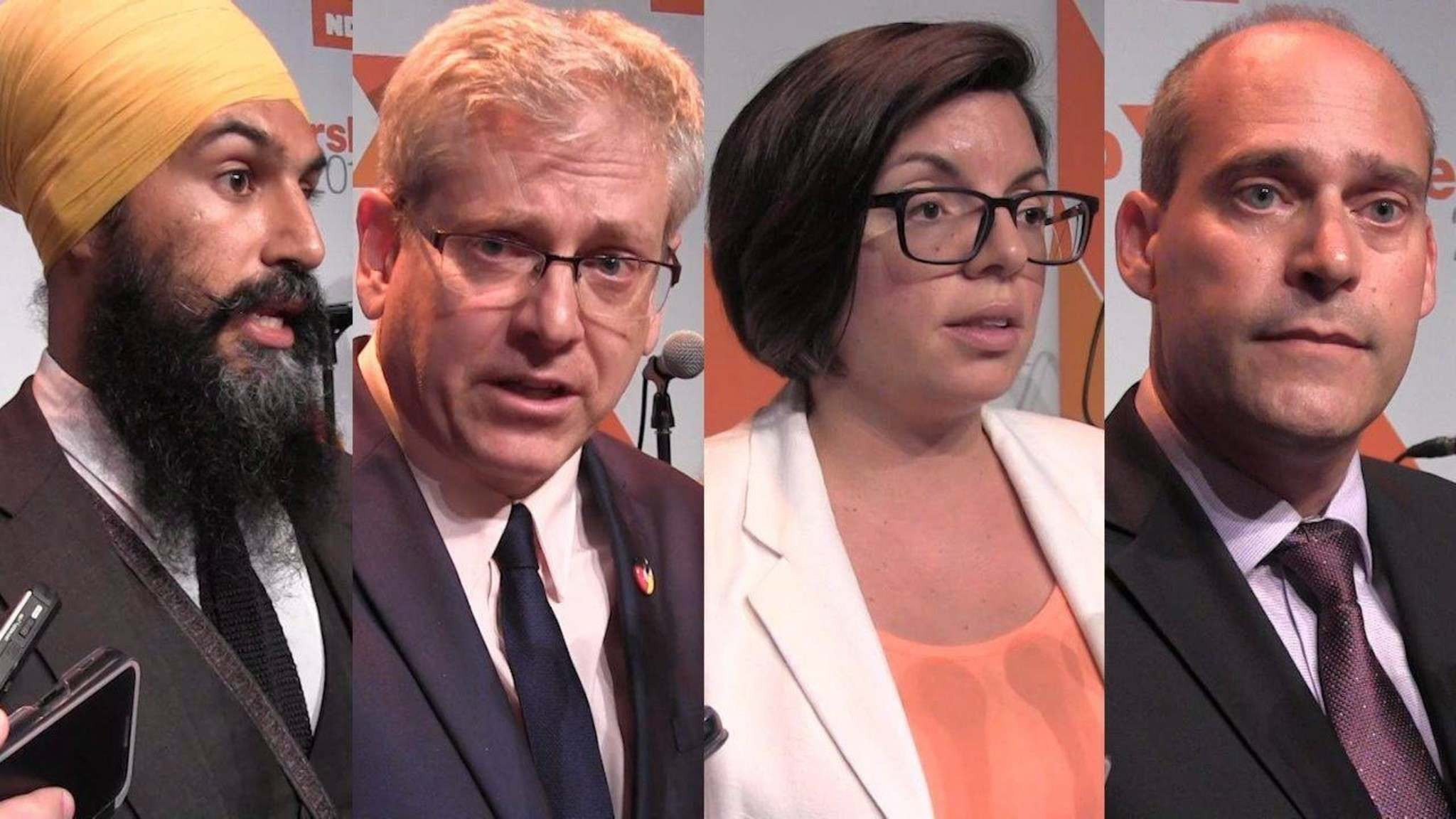 THE CANADIAN PRESS FILES</p><p>Federal NDP leadership candidates Jagmeet Singh, left to right, Charlie Angus, Niki Ashton and Guy Caron are seen in this four composite image made from video as they speak to the media following a debate in Montreal on Aug. 27, 2017.</p>