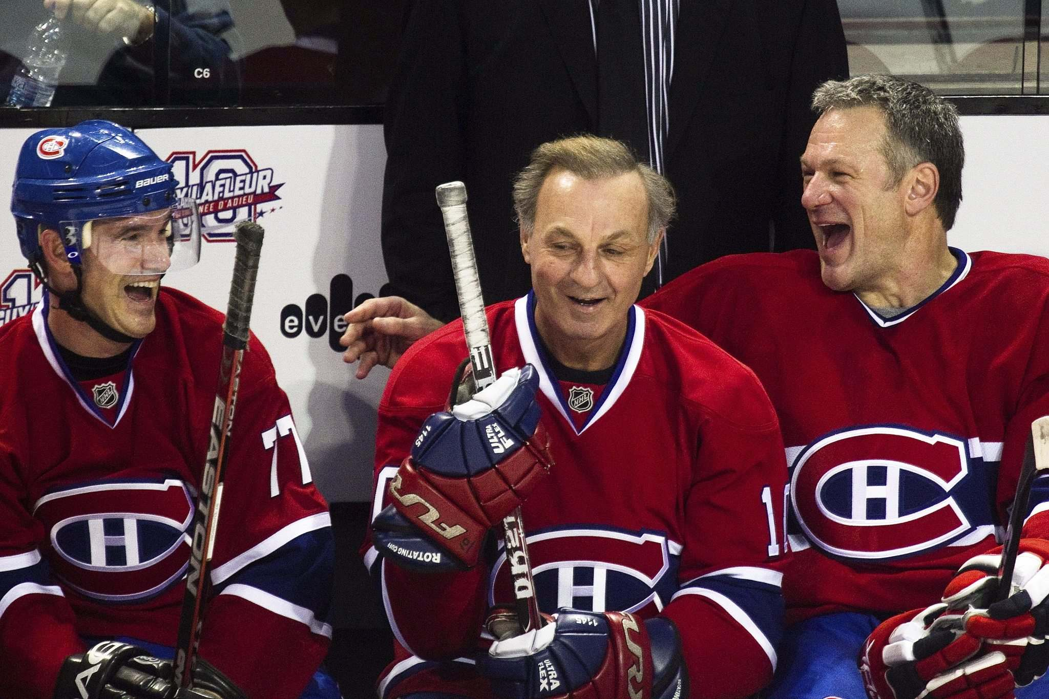 DARIO AYALA/THE GAZETTE FILES</p><p>Claude Lemieux (right) has some fun with Guy Lafleur during Lafleur&rsquo;s farewell game with the Anciens Canadiens in 2010. Lemieux was in Winnipeg on Friday for his son&rsquo;s first NHL game.</p>