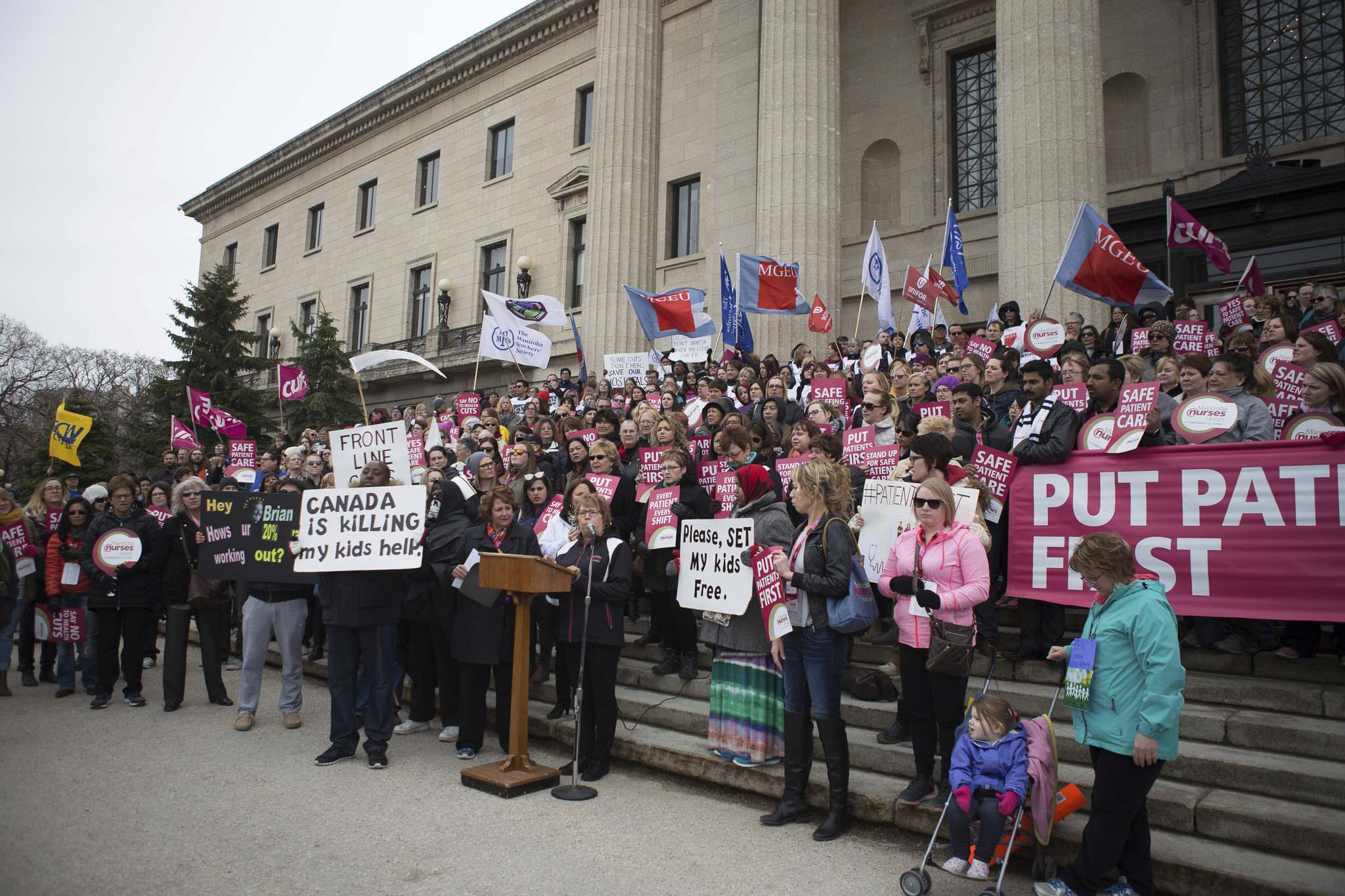 Jen Doerksen / winnipeg FREE PRESS FILEs</p><p>Nurses protest at the Manitoba legislature in April over the Pallister government&rsquo;s restructuring of the health-care system, which includes reassignments for many nurses. </p>