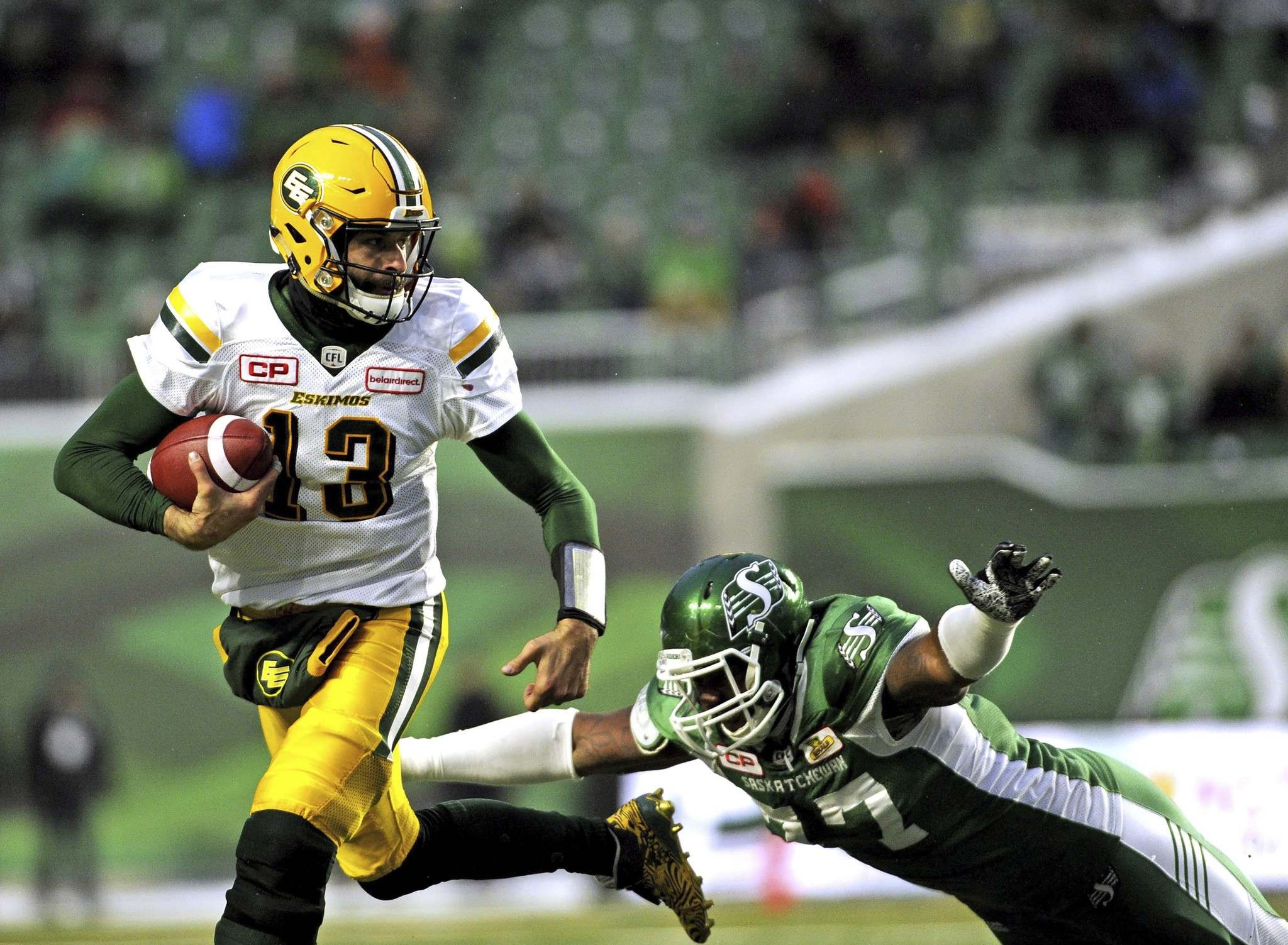 <p>Edmonton Eskimos quarterback Mike Reilly led the CFL in passing yards, passing touchdowns and rushing touchdowns this season.</p></p>