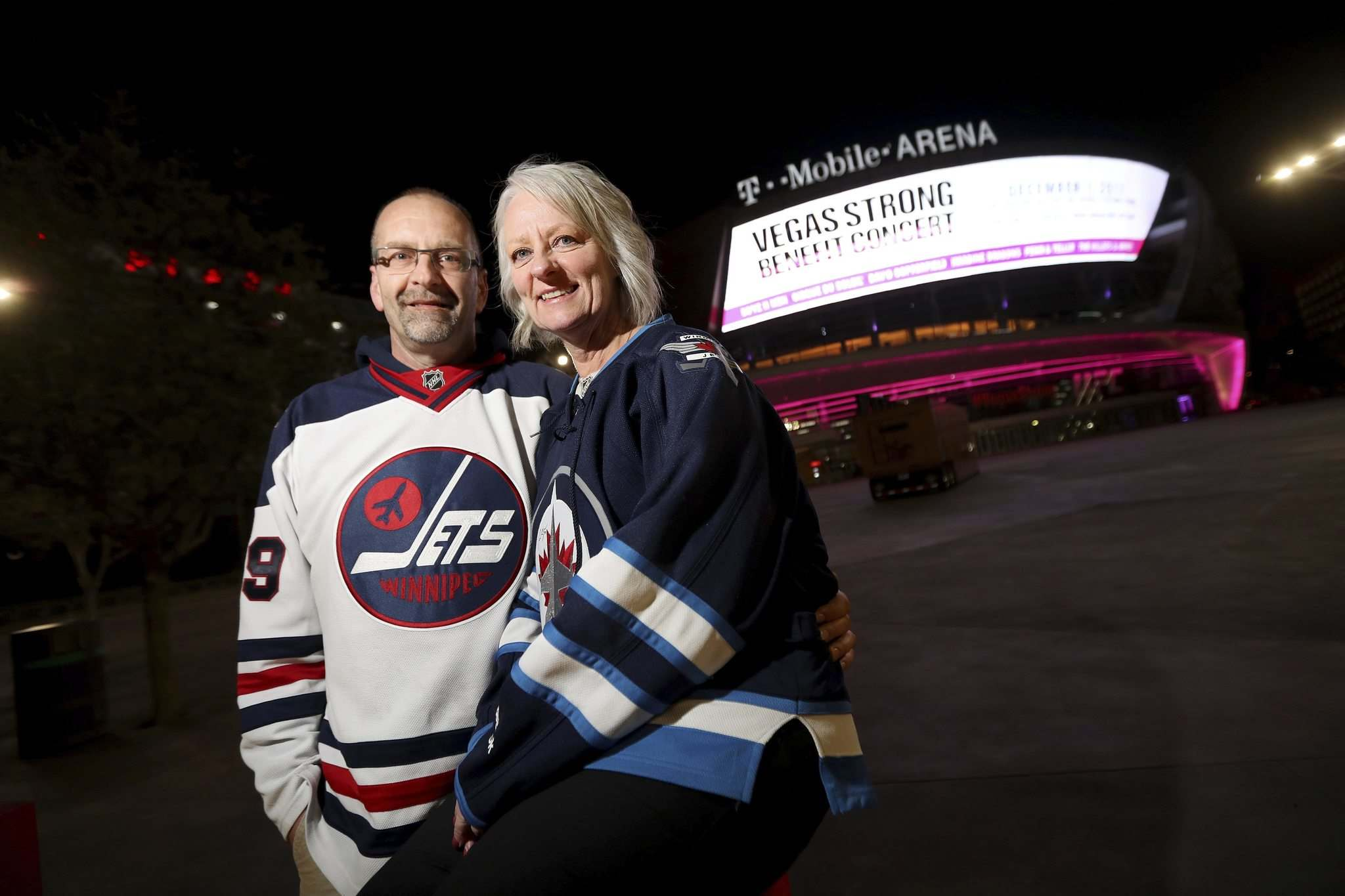 <p>Jack and Kathy Swar, from Winnipeg, near T-Mobile Arena, are among many who came Las Vegas to watch the Winnipeg Jets take on the Vegas Golden Knights.</p>