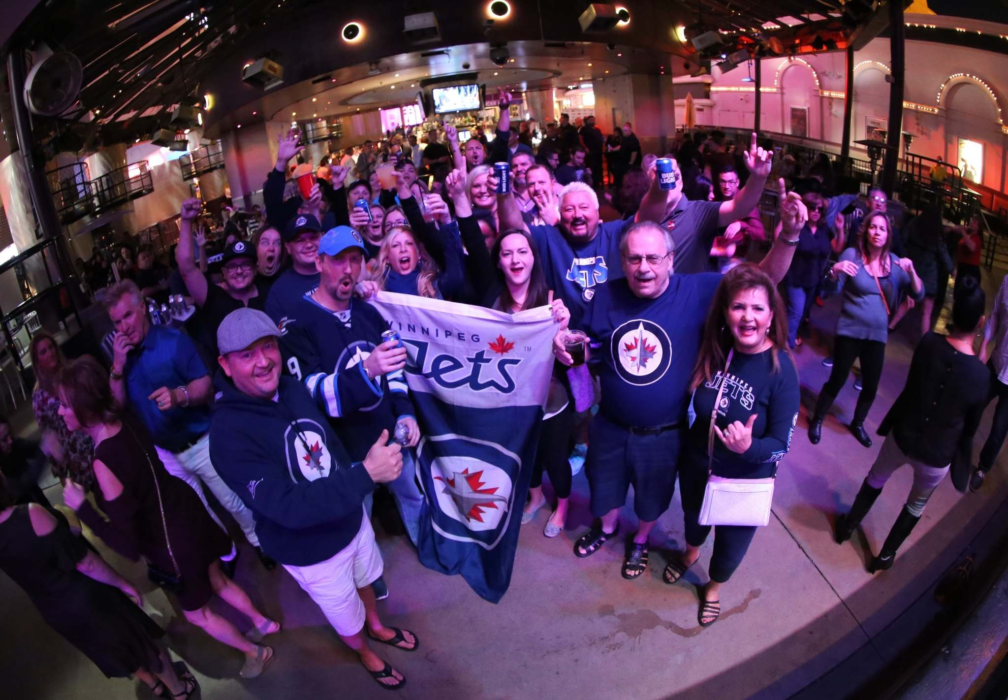 TREVOR HAGAN / WINNIPEG FRESS</p><p>A group of Jets fans gathered at Carnival Court on the Las Vegas strip, Thursday, November 9, 2017.</p>