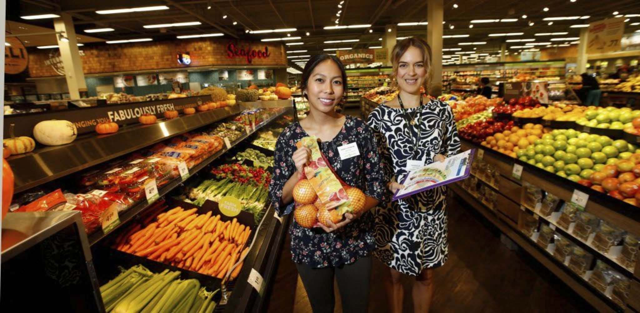 Dietitians Melodie Ho, left, and Amanda Hamel are part of the Save-On-Foods Store Nutrition Tour program at the Northgate Save-On-Foods location.</p>