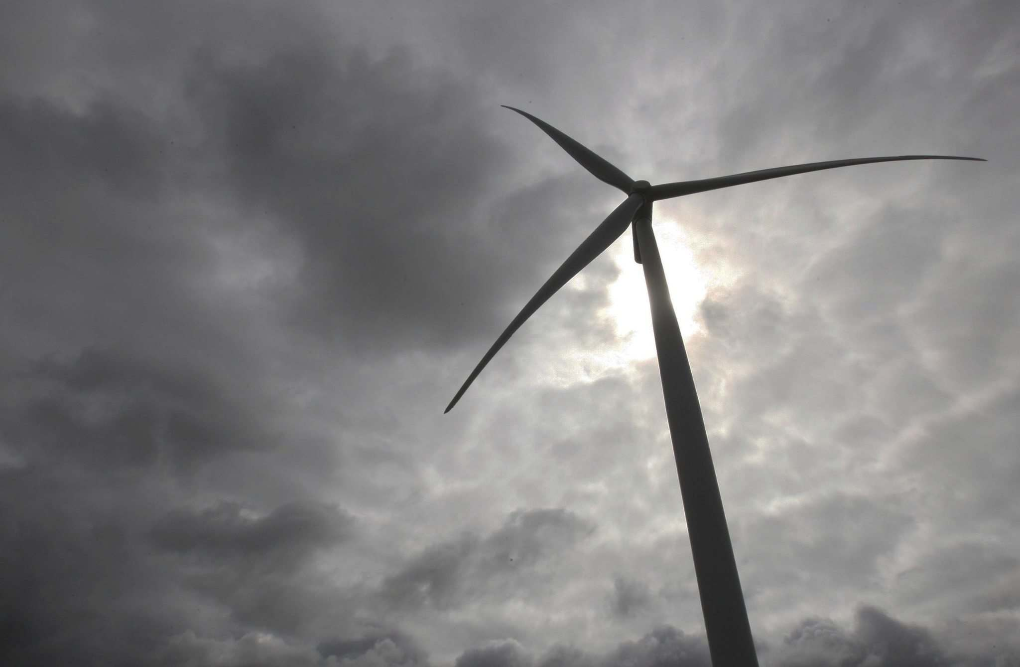 One of the 60 turbines in the St. Joseph Wind Farm in southern Manitoba.
