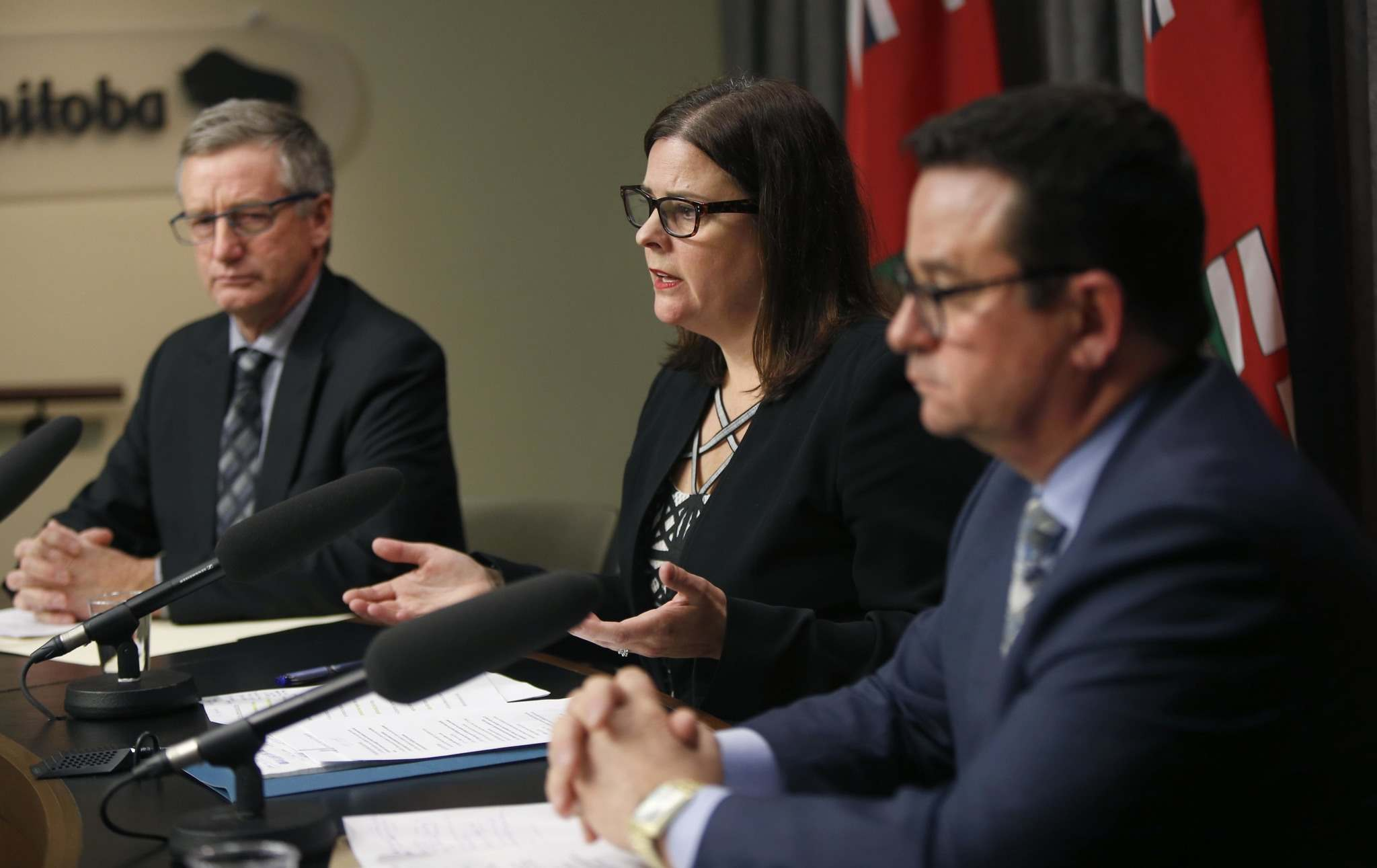 WAYNE GLOWACKI / WINNIPEG FREE PRESS</p><p>Justice Minister Heather Stefanson with at left, Blaine Pedersen, Growth, Enterprise and Trade Minister and Jeff Wharton, Municipal Relations Minister at the news conference in the Manitoba Legislative building Tuesday.</p>
