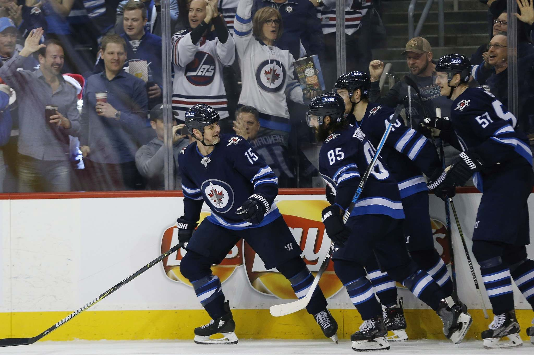 John Woods / The Canadian Press files</p><p>The Winnipeg Jets&rsquo; Matt Hendricks (from left), Mathieu Perreault, Joel Armia and Tyler Myers celebrate Hendricks&rsquo; goal against the Vegas Golden Knights on Dec. 1.</p>