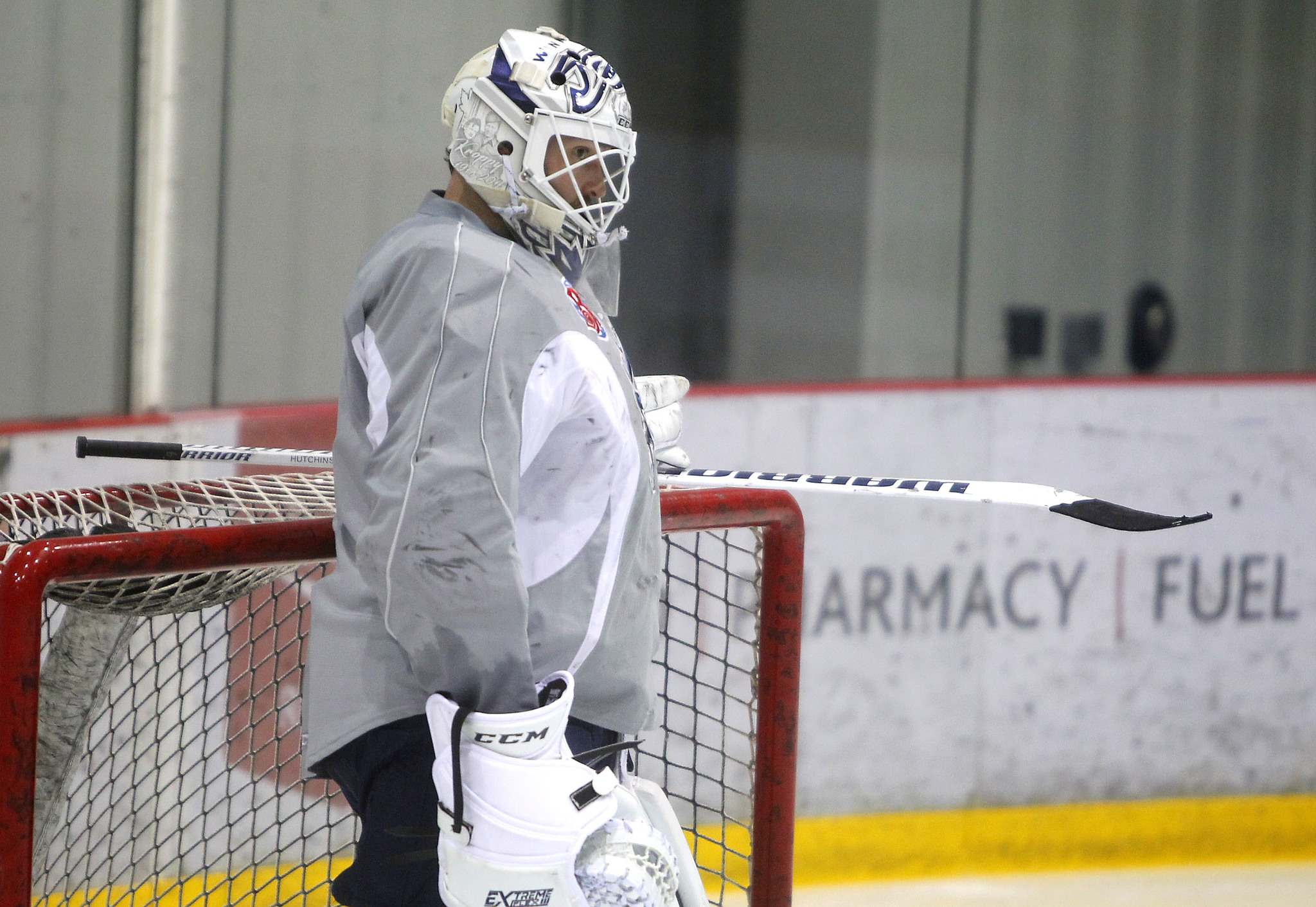 BORIS MINKEVICH / WINNIPEG FREE PRESS</p><p>Manitoba Moose goalie Michael Hutchinson at practice at the Bell MTS Iceplex Thursday.</p>