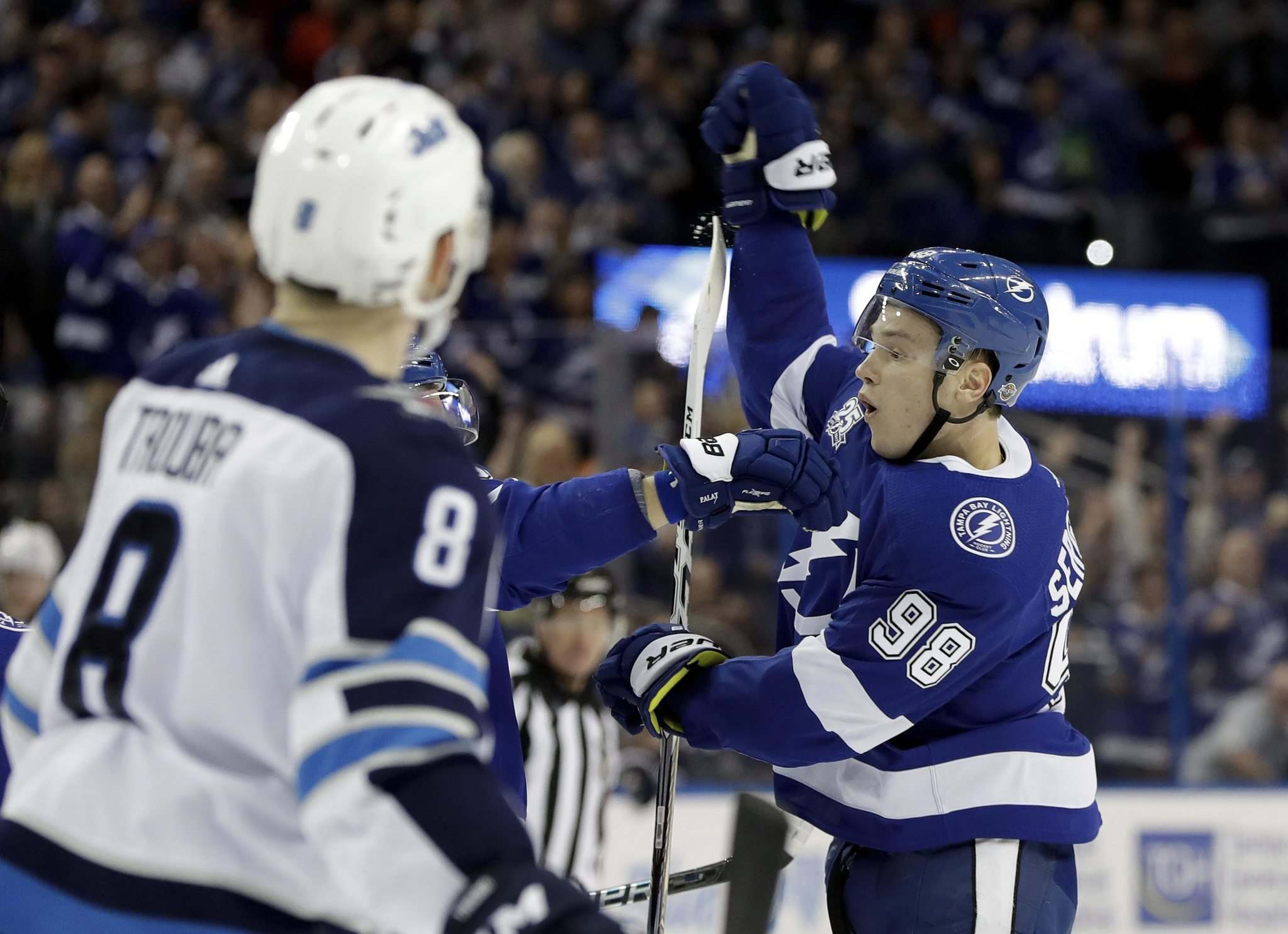 Chris O'Meara / The Associated Press</p><p>Tampa Bay Lightning defenseman Mikhail Sergachev (98) celebrates after his goal against the Winnipeg Jets during the second period of an NHL hockey game Saturday, Dec. 9, 2017, in Tampa, Fla.</p></p>
