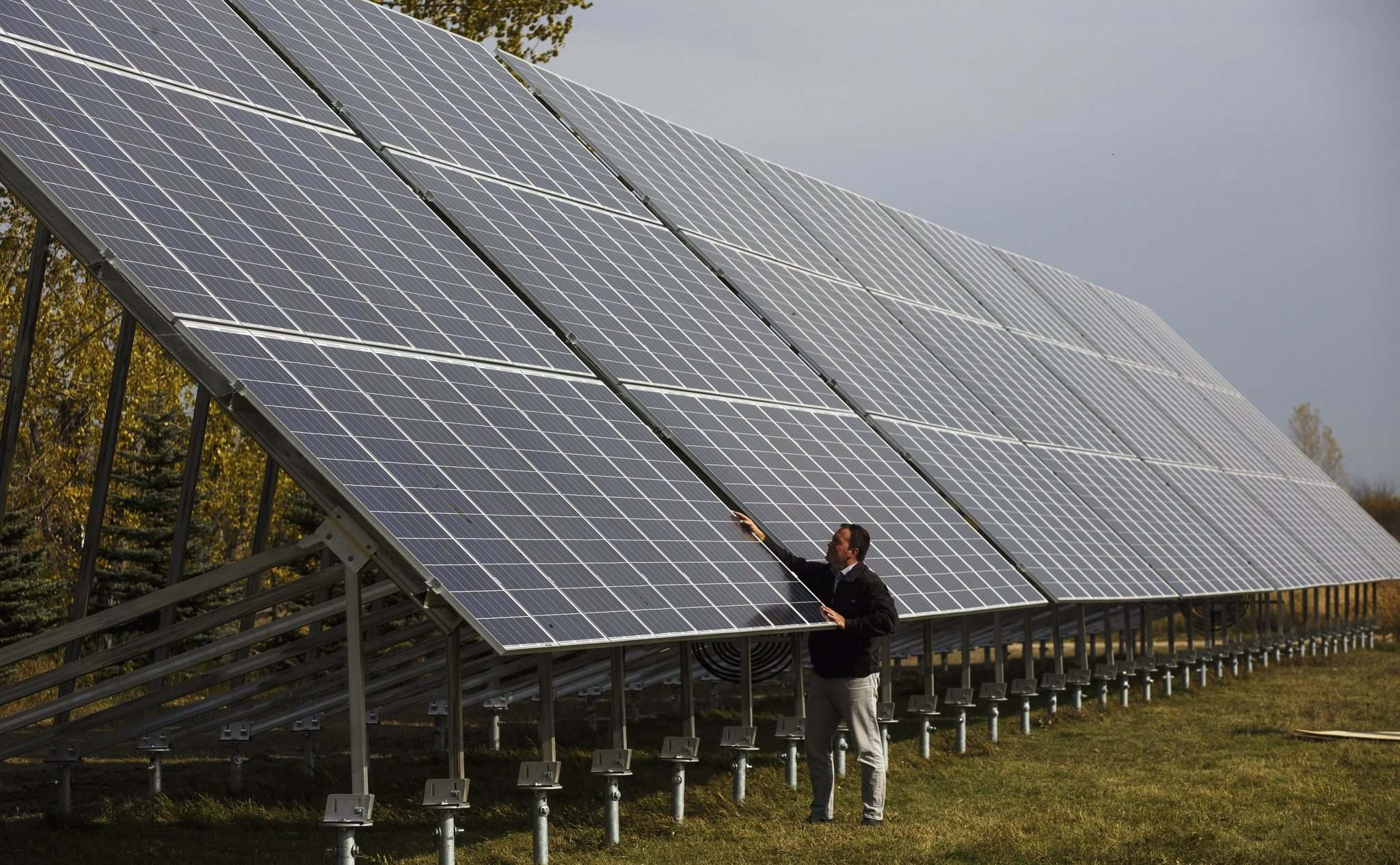 MIKE DEAL / WINNIPEG FREE PRESS FILES</p><p>Alex Stuart of Solar Manitoba checks out the largest solar-electricity installation in the city of Winnipeg at FortWhyte Alive. </p>