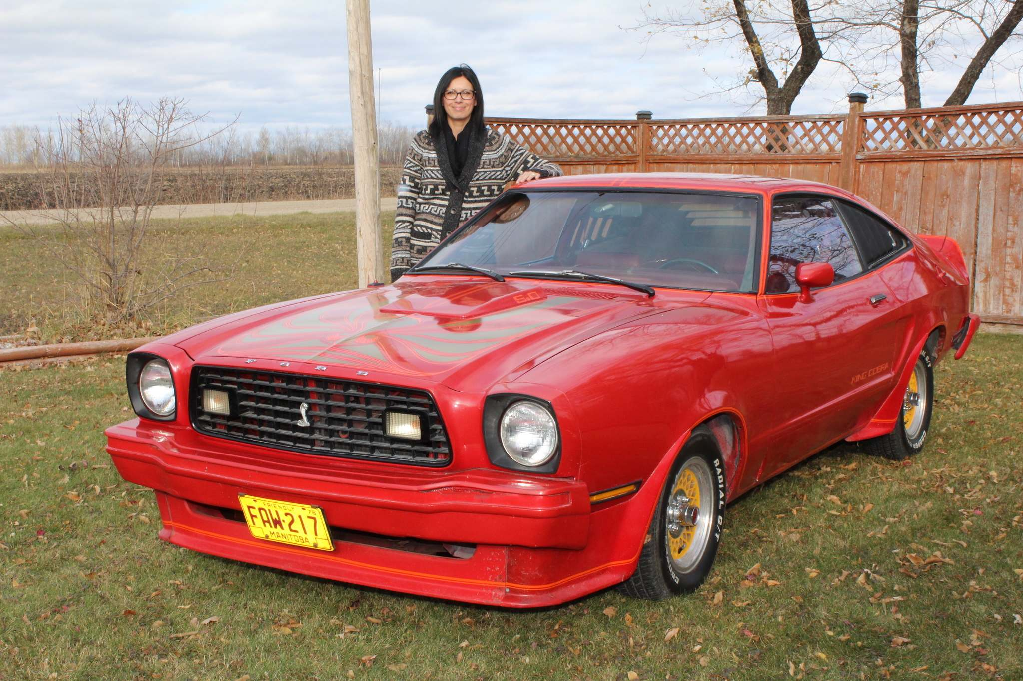 Photos by Larry D'Argis / Winnipeg Free PressTammy Bonni with her 1978 Ford Mustang King Cobra. Her husband, Bill, found it in Steinbach in 2014.