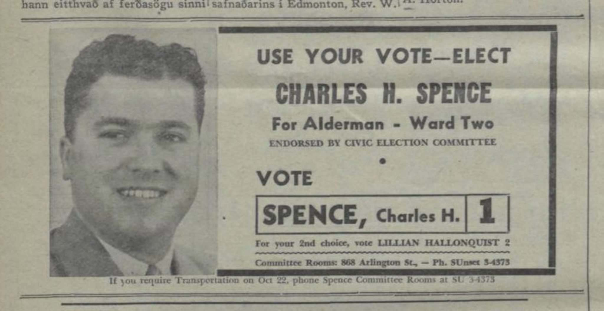 Heimskringla archives</p><p>A Charles Spence ad that ran in Winnipeg's Icelandic newspaper, Heimskringla, during the 1958 Winnipeg civic election campaign.</p></p>