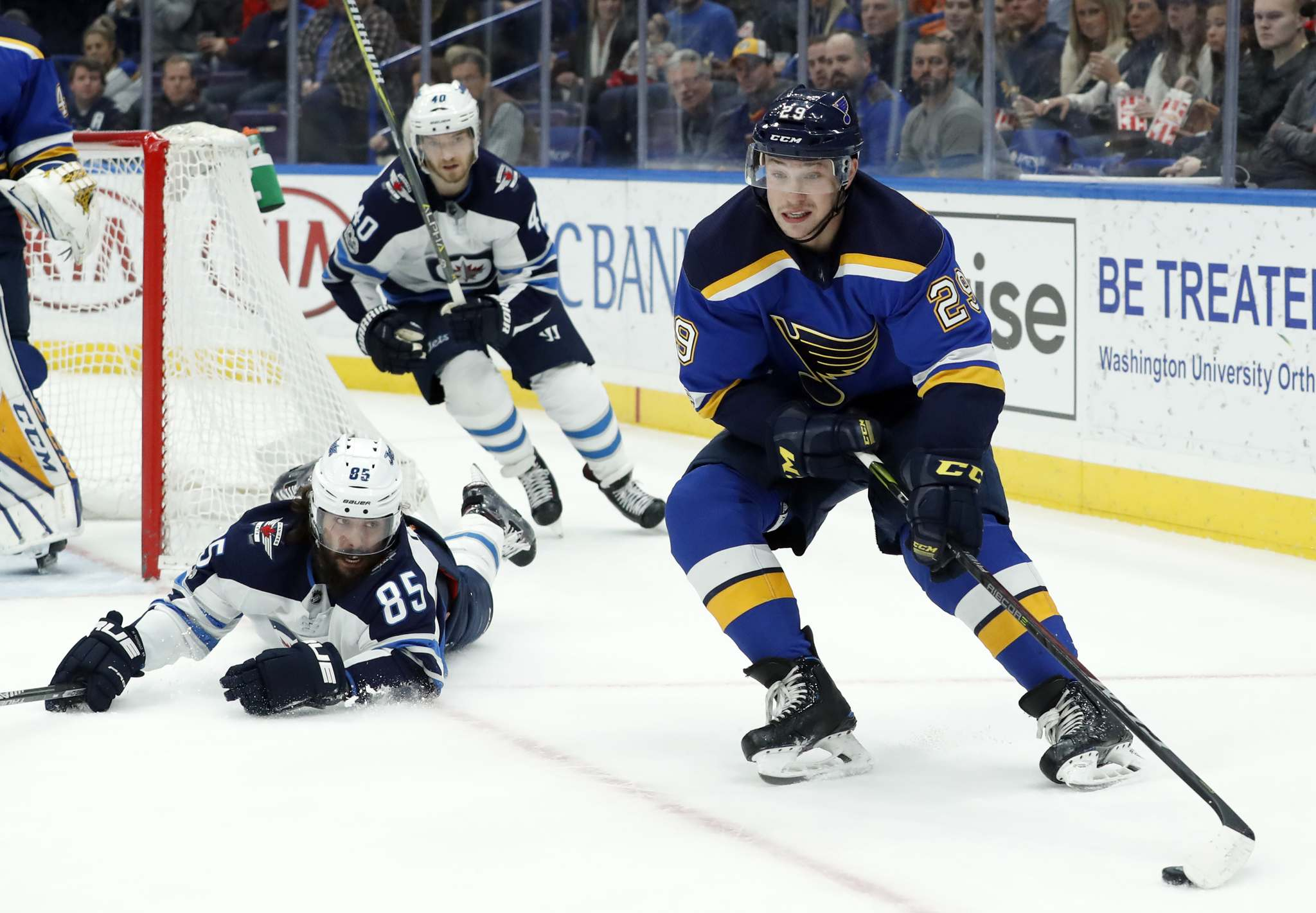 Blues drop second game of back-to-back with Jets