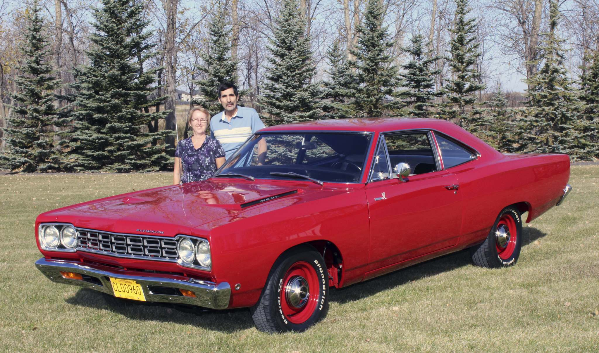 Photos by Larry D'Argis / Winnipeg Free PressRichard and Joanne Gregoire with their restored 1968 Plymouth Road Runner. Richard bought the car in 2012 and the overhaul was complete in the spring of 2014.