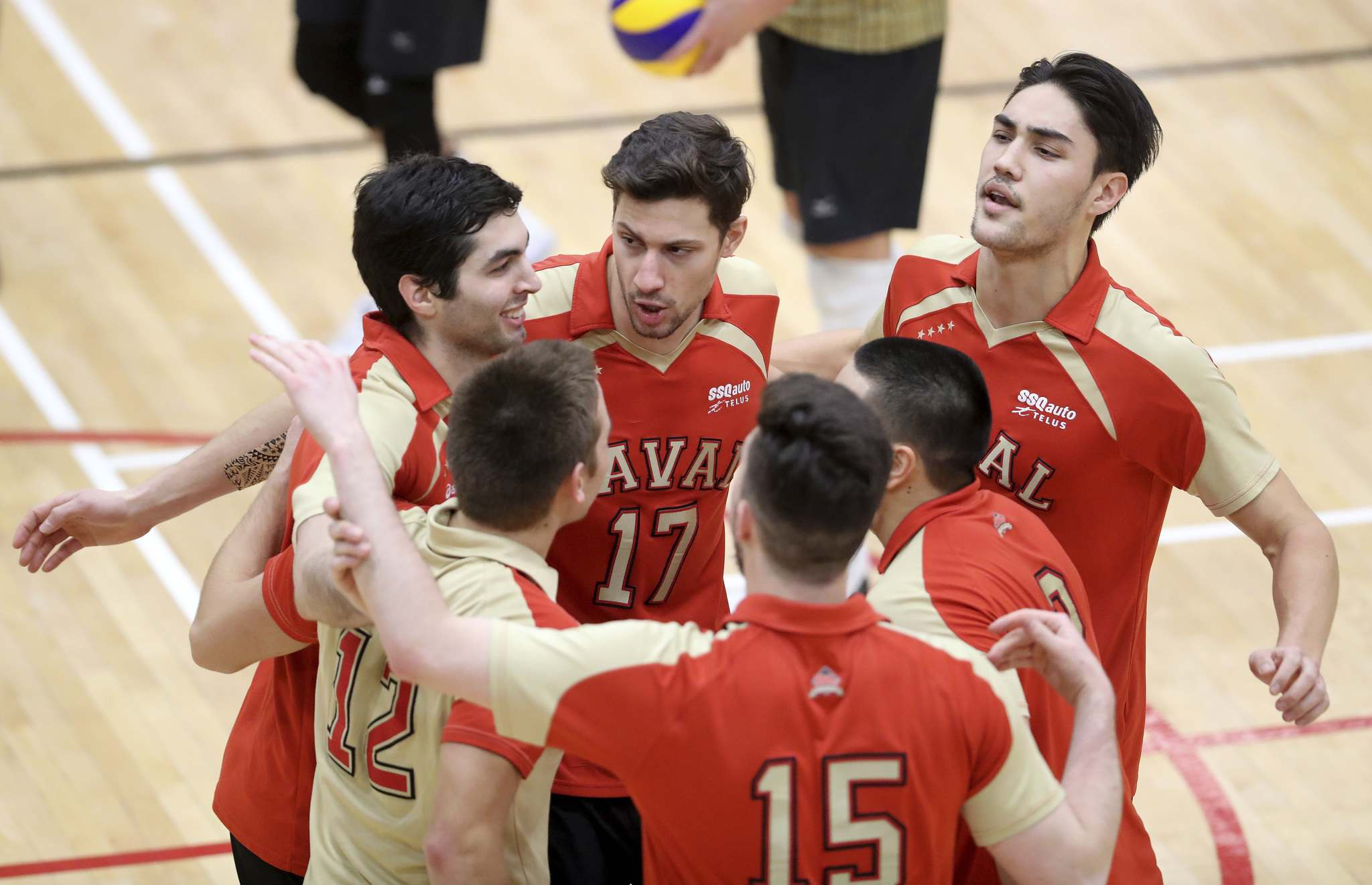 Université Laval Rouge Et Or celebrates a point during their game against the University of Manitoba Bisons.</p>