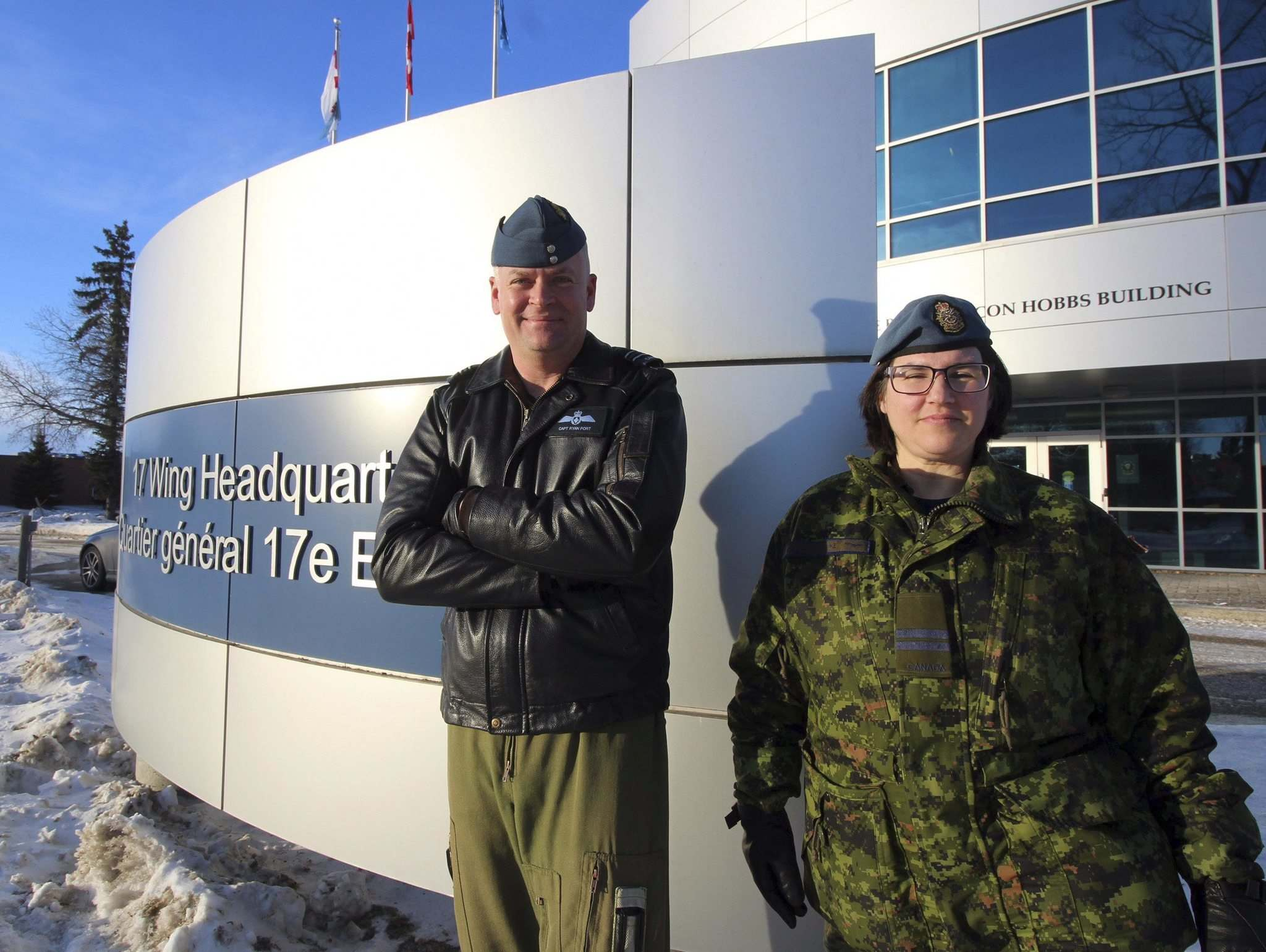 Jessica Botelho-Urbanski / Winnipeg Free Press</p><p>Capt. Ryan Port and Capt. Bettina McCulloch-Drake are excited about a pilot project at 17 Wing.</p></p>