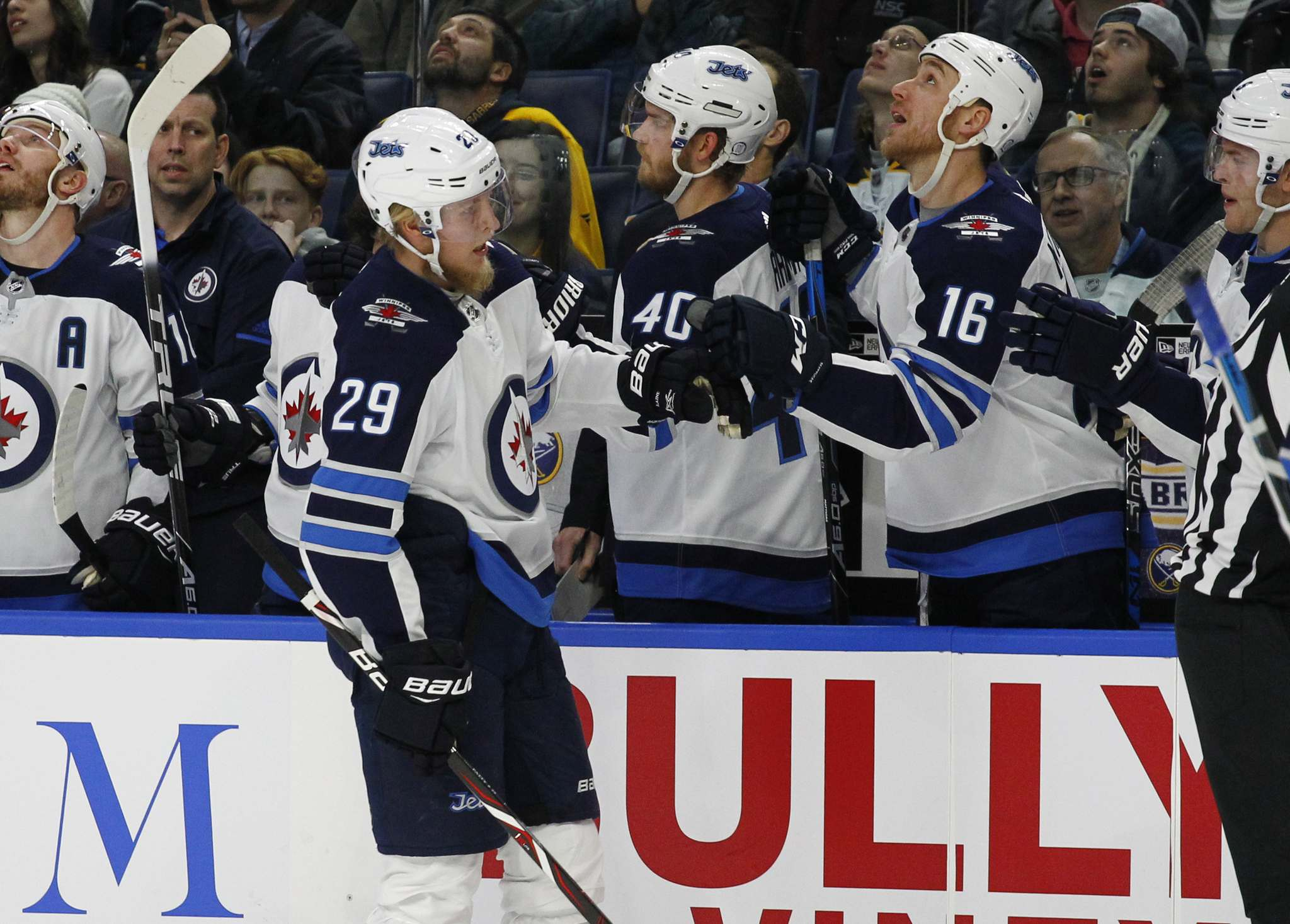 Jeffrey T. Barnes / The Associated Press</p><p>Winnipeg Jets forward Patrik Laine (29) celebrates his goal with teammates during the first period of an NHL hockey game against the Buffalo Sabres, Tuesday, Jan. 9, 2018, in Buffalo, N.Y.</p>