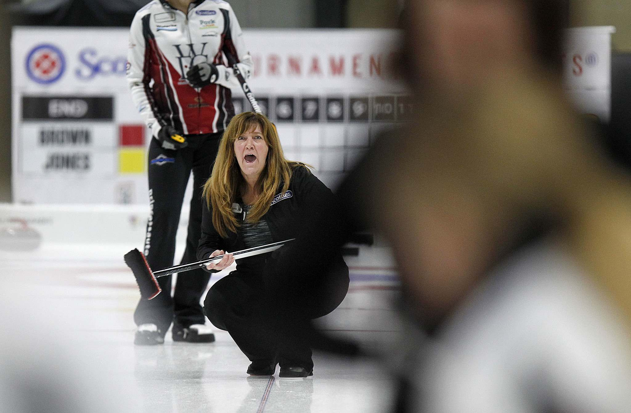 PHIL HOSSACK / Winnipeg Free Press</p><p>Skip Joelle Brown works her sweepers during the first day of the 2018 Manitoba Scotties Tournament of Hearts Wednesday.</p>