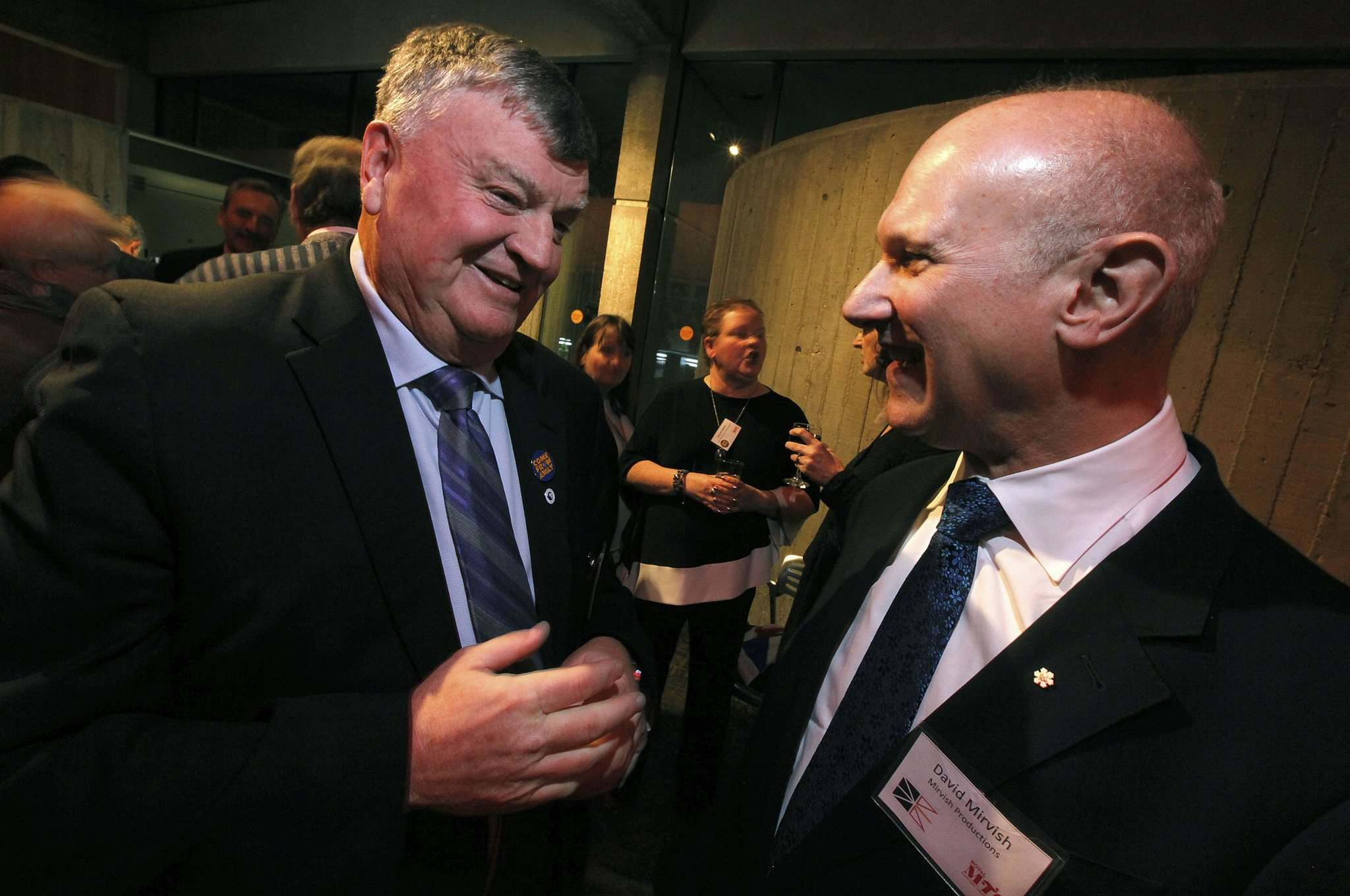 PHIL HOSSACK / Winnipeg Free Press</p><p>Claude Elliott (left), who was mayor of Gander, N.L., during 9/11, chats with theatre impresario David Mirvish at the opening of Come From Away.</p></p>
